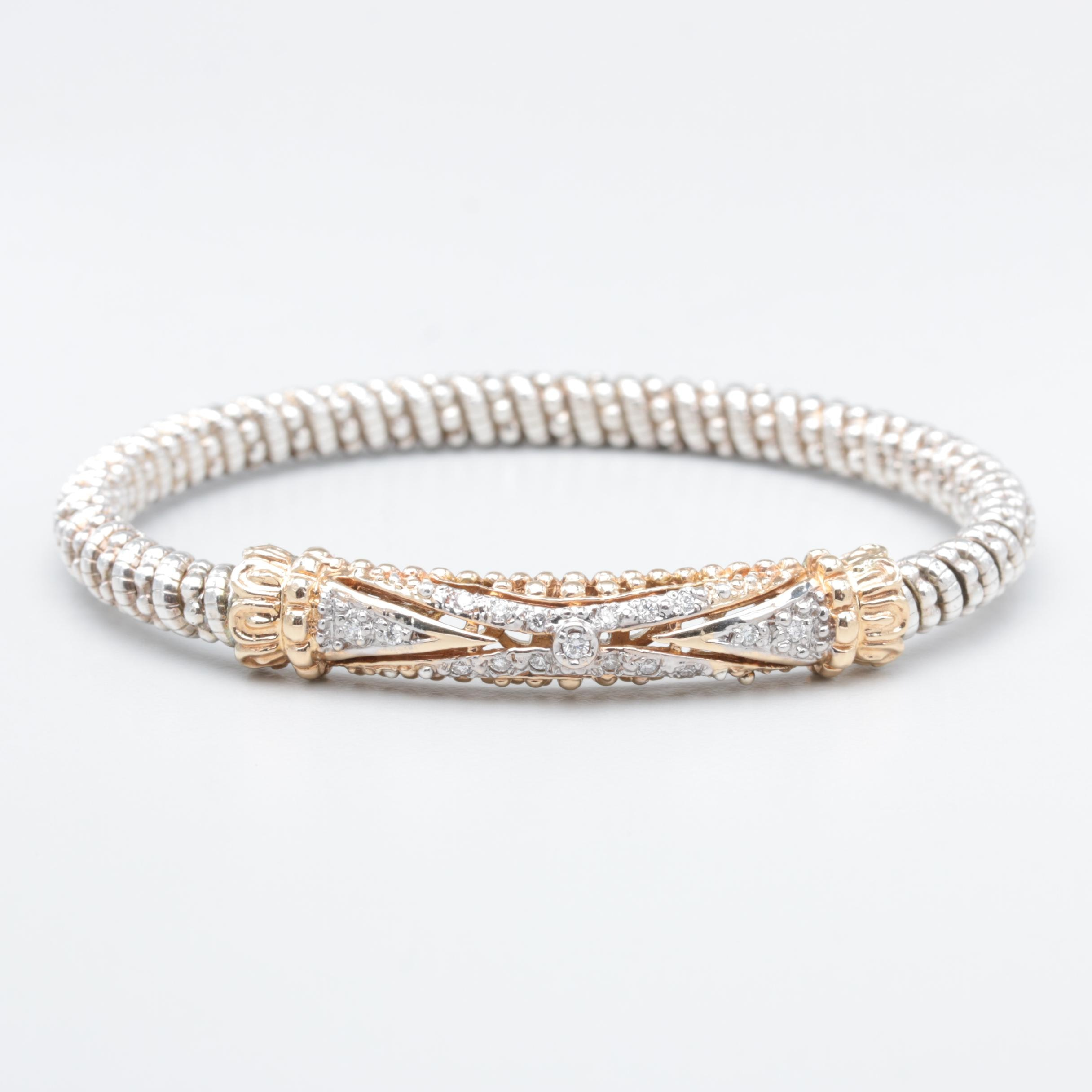 Vahan 14K Yellow Gold and Sterling Silver Diamond Bracelet