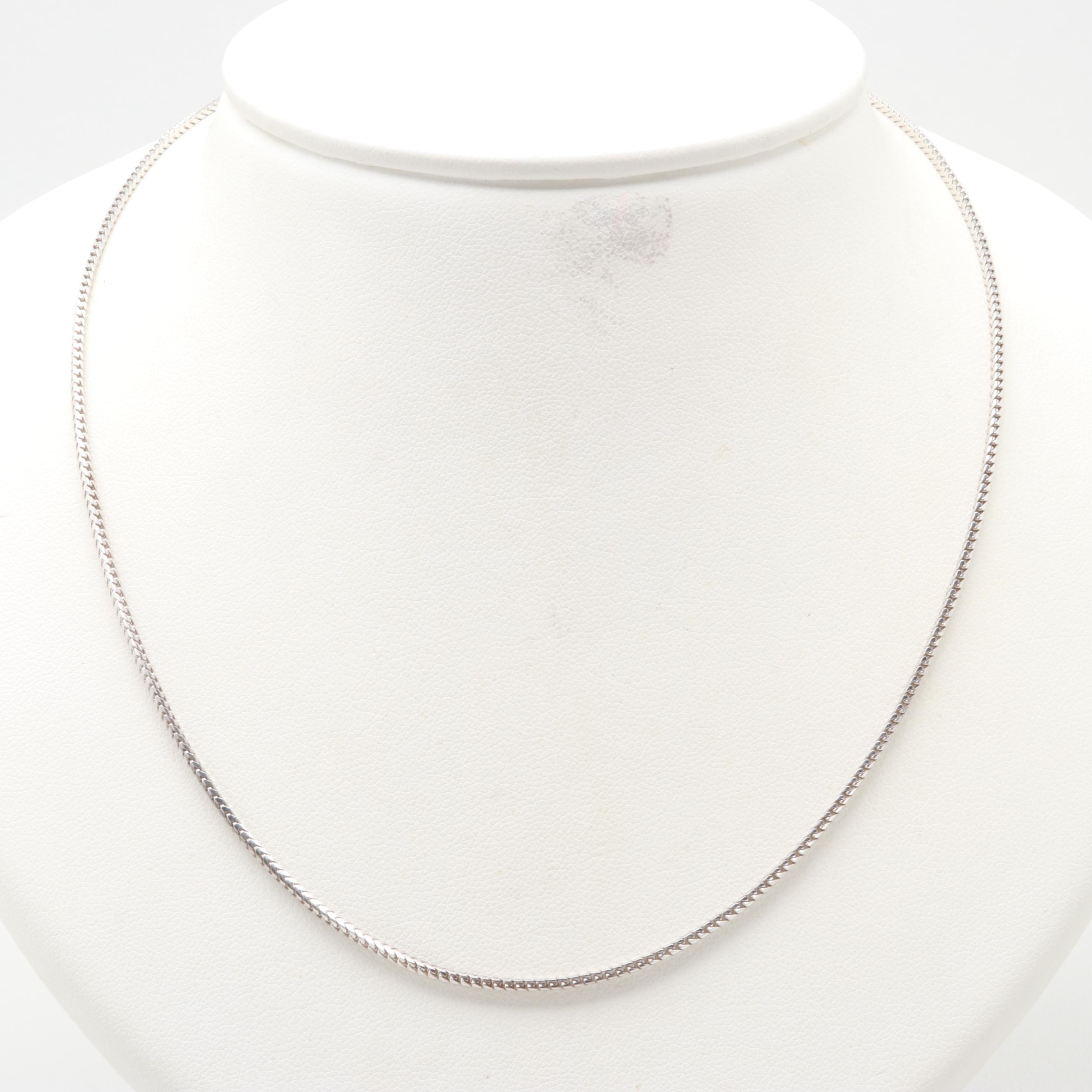 14K White Gold Fancy Link Necklace