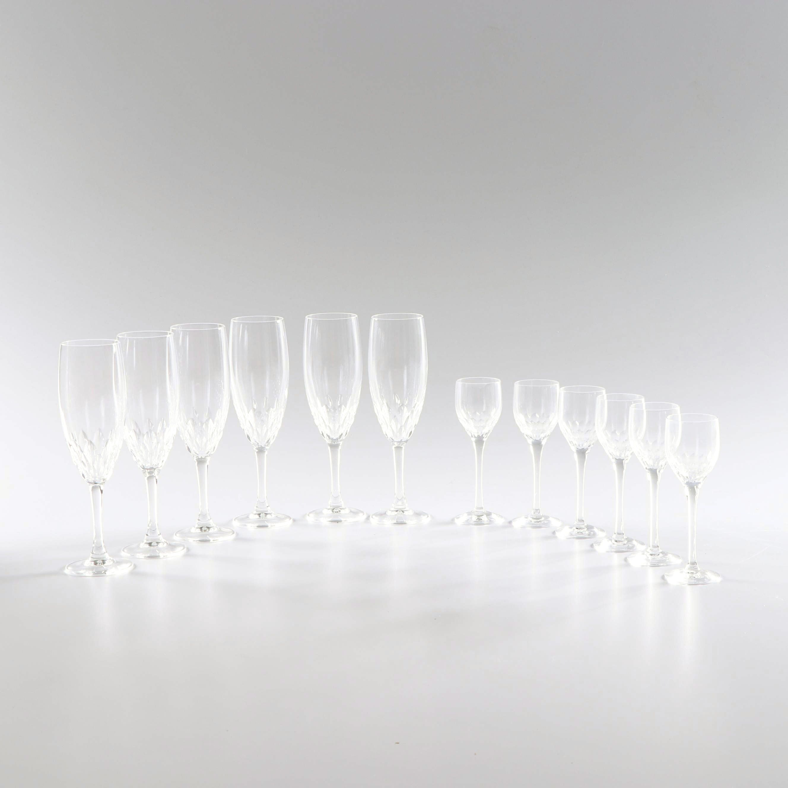 Orrefors Crystal Champagne Flutes and Cordial Glasses