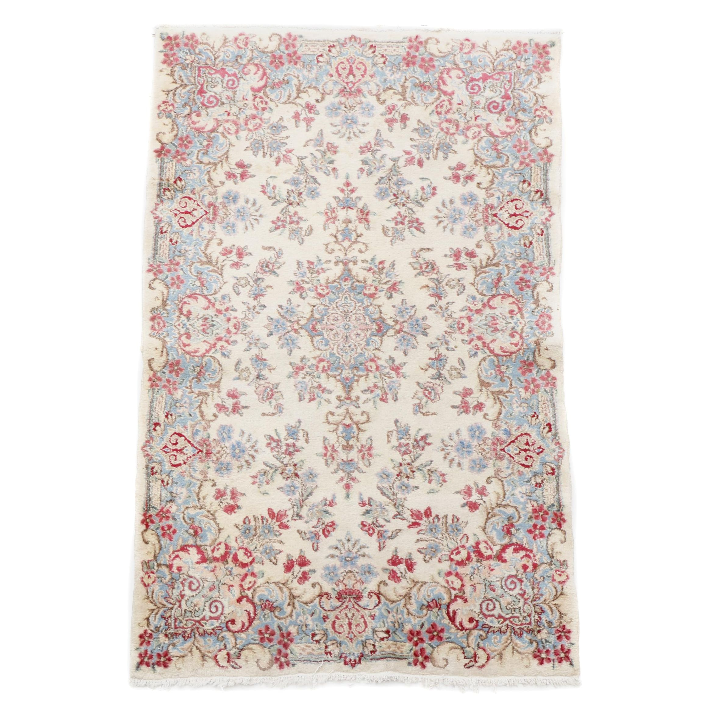Hand-Knotted Persian Kerman Accent Rug