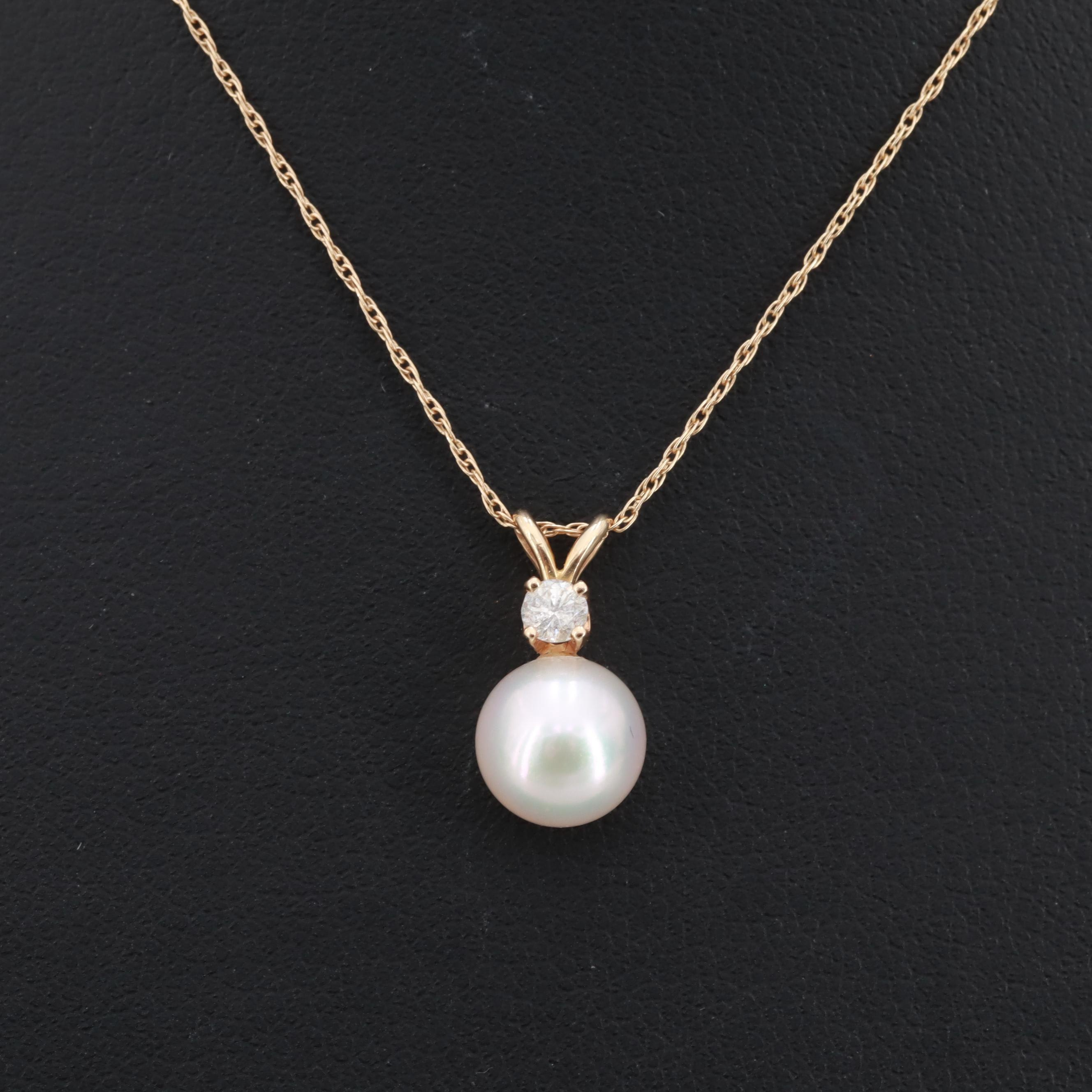 14K Yellow Gold Cultured Pearl and Diamond Pendant with Rope Chain Necklace