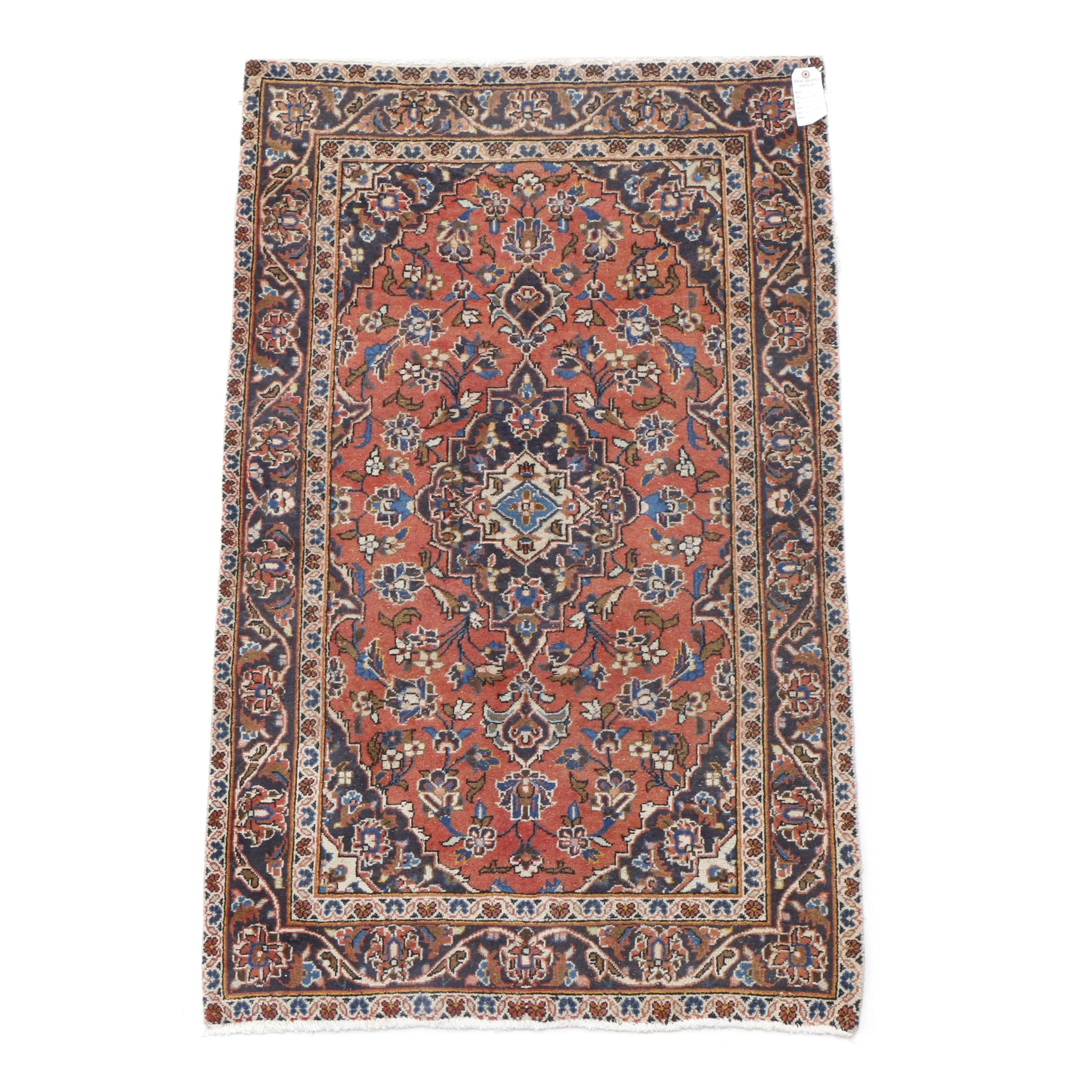 Hand-Knotted Persian Kashan Accent Rug