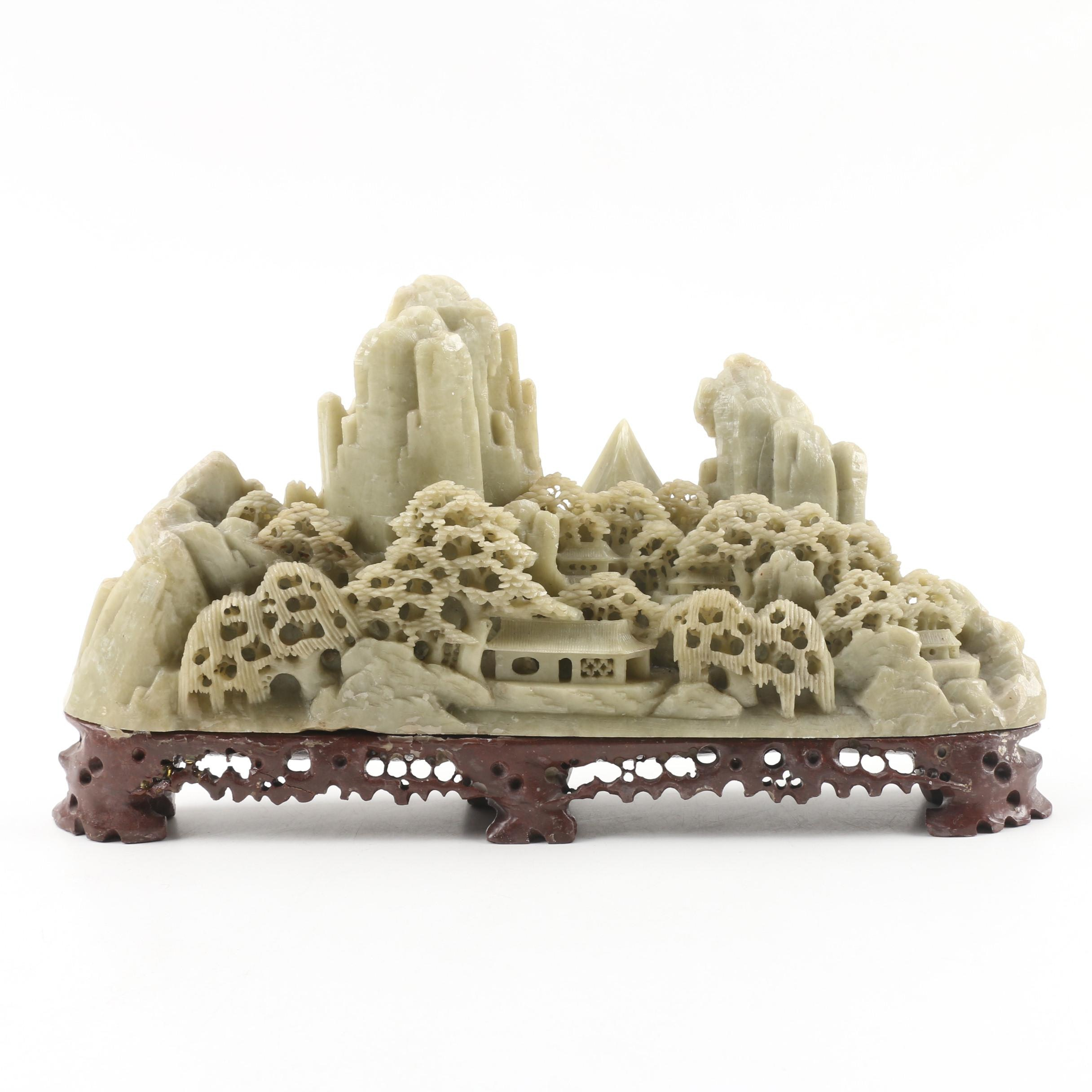 Chinese Carved Soapstone Shoushan Figurine with Base