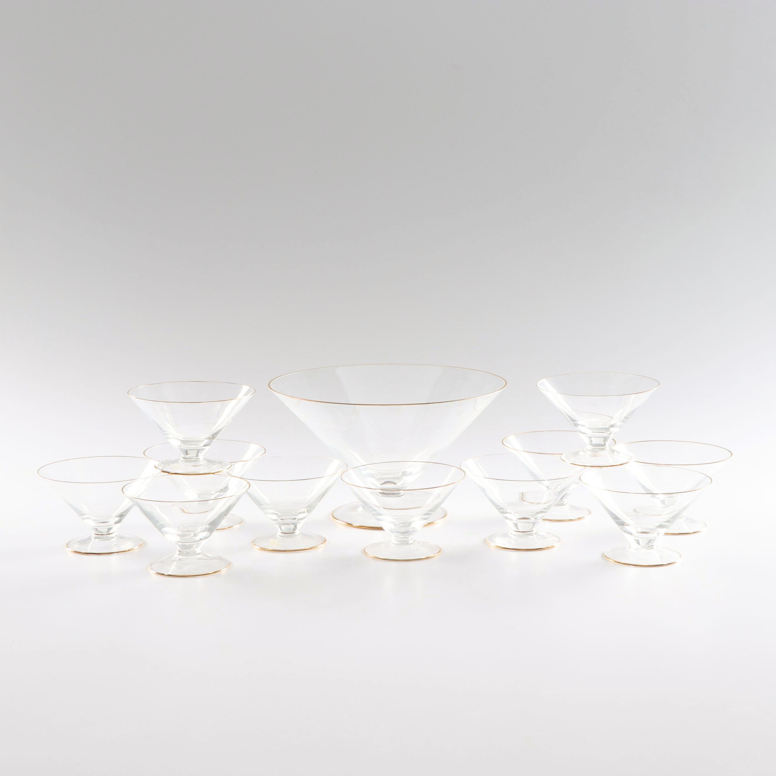 Crate & Barrel Glass Trifle Bowl and Dish Set