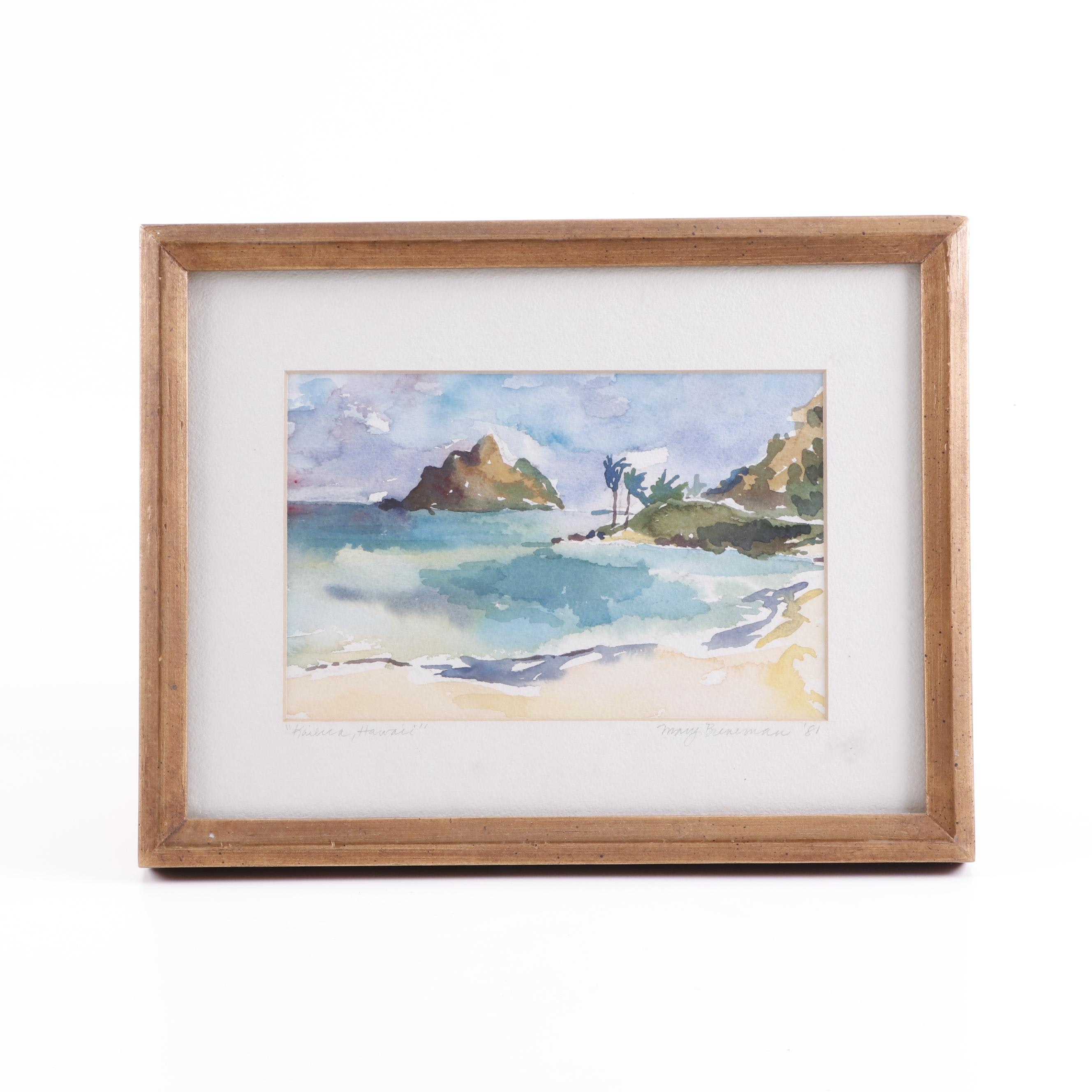 "Mary Breneman Watercolor Painting ""Kailua Hawaii"""