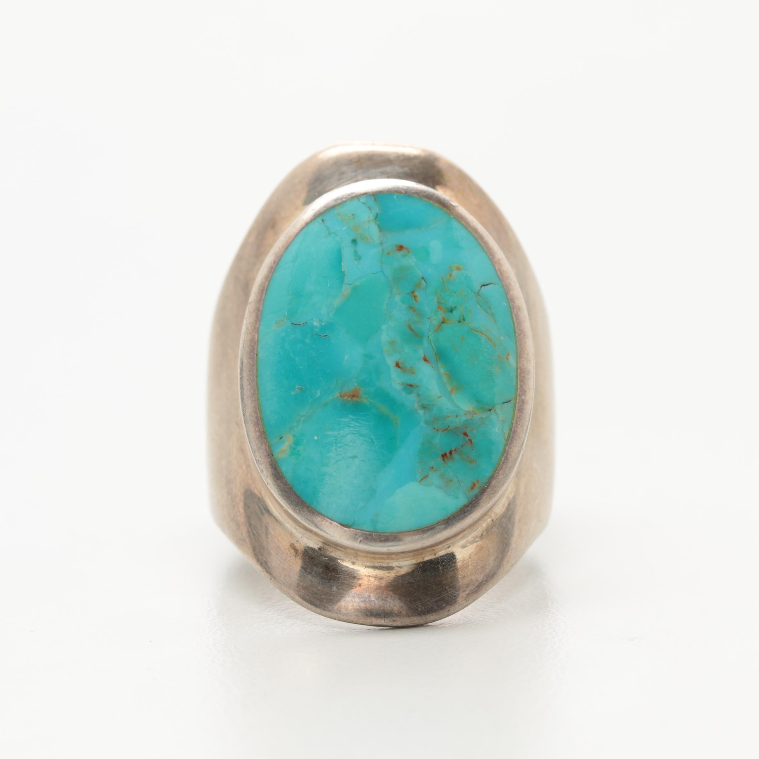 Southwestern Style Sterling Silver Mens Reconstructed Turquoise Ring
