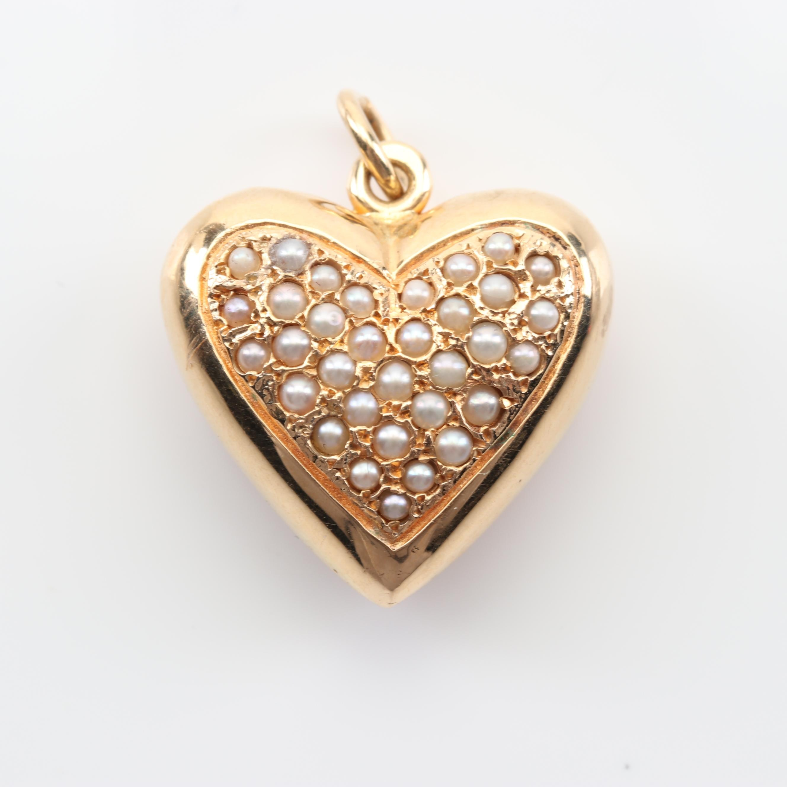14K Yellow Gold Seed Pearl Heart Pendant
