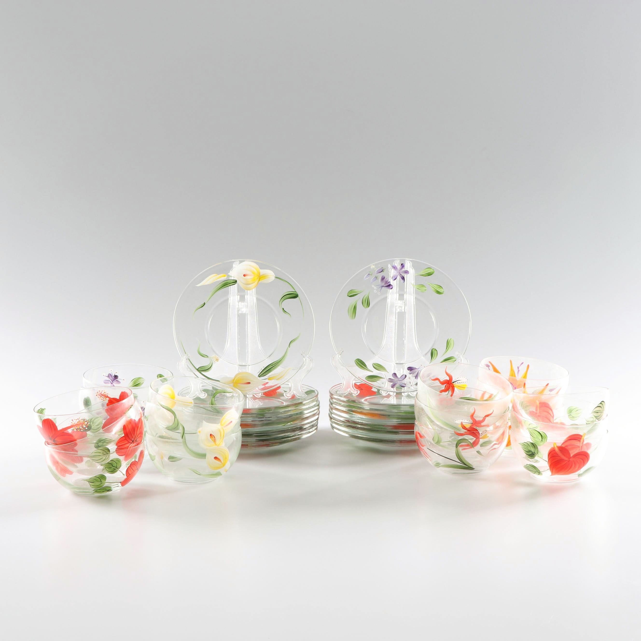 Hand-Painted Floral Glass Bowls and Plates featuring Luminarc