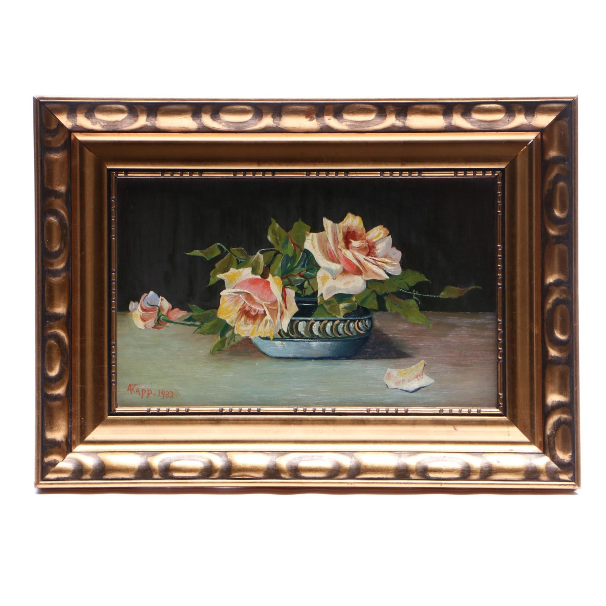 Alfred Kapp 1933 Floral Still Life Oil Painting
