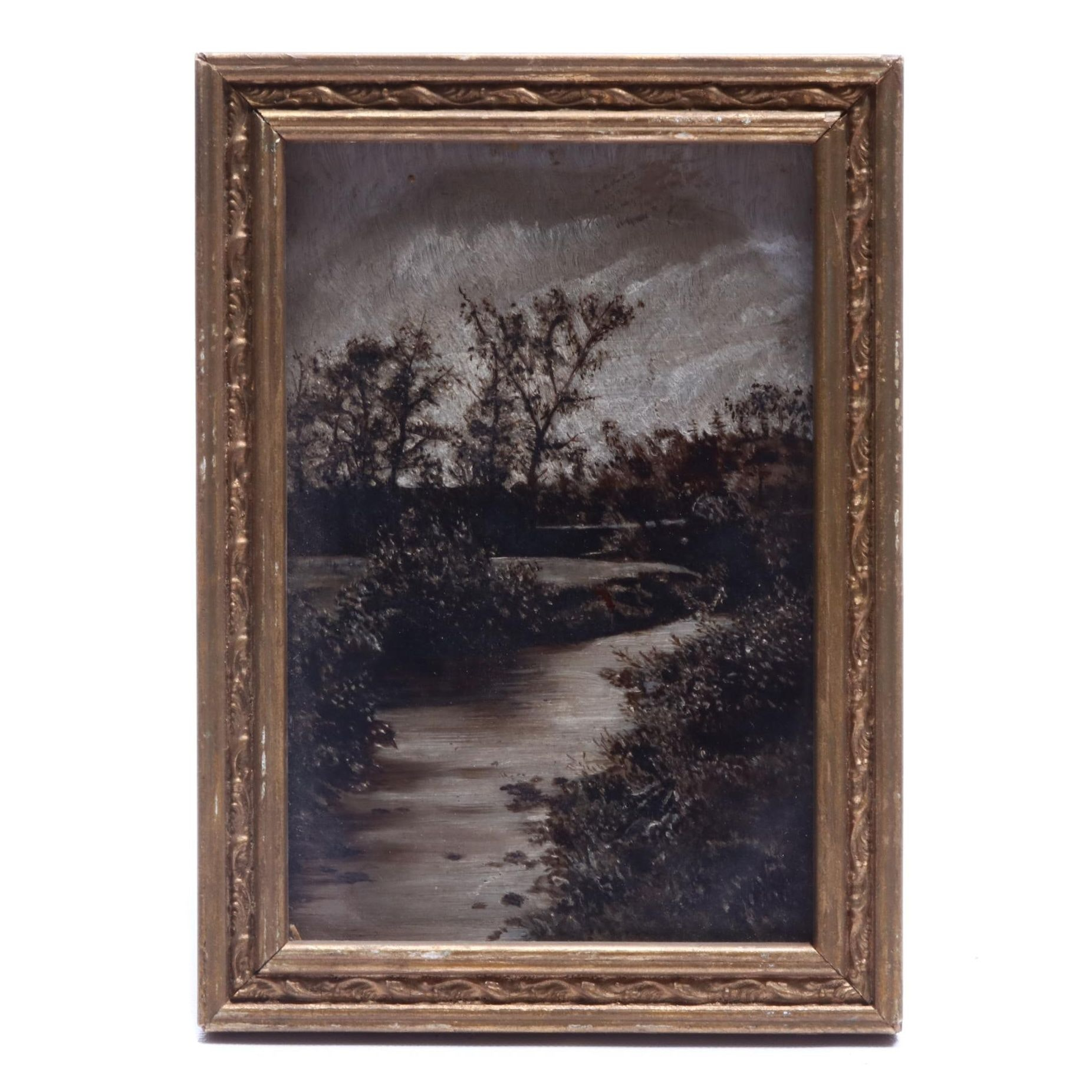 "Margaret Armstrong Goddard Oil Landscape on Glass ""Chaudiere Brook"""