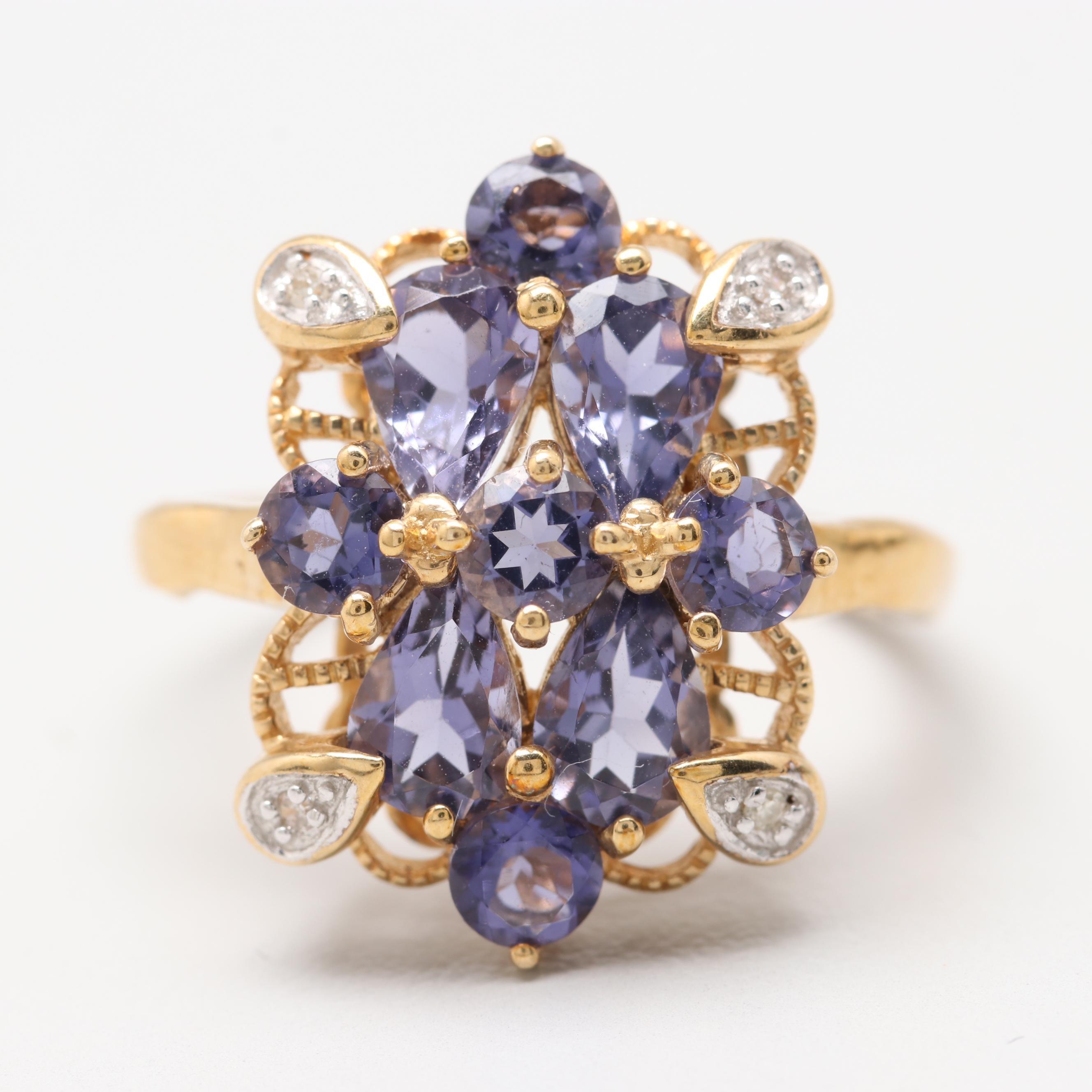 10K Yellow Gold Iolite and Diamond Ring