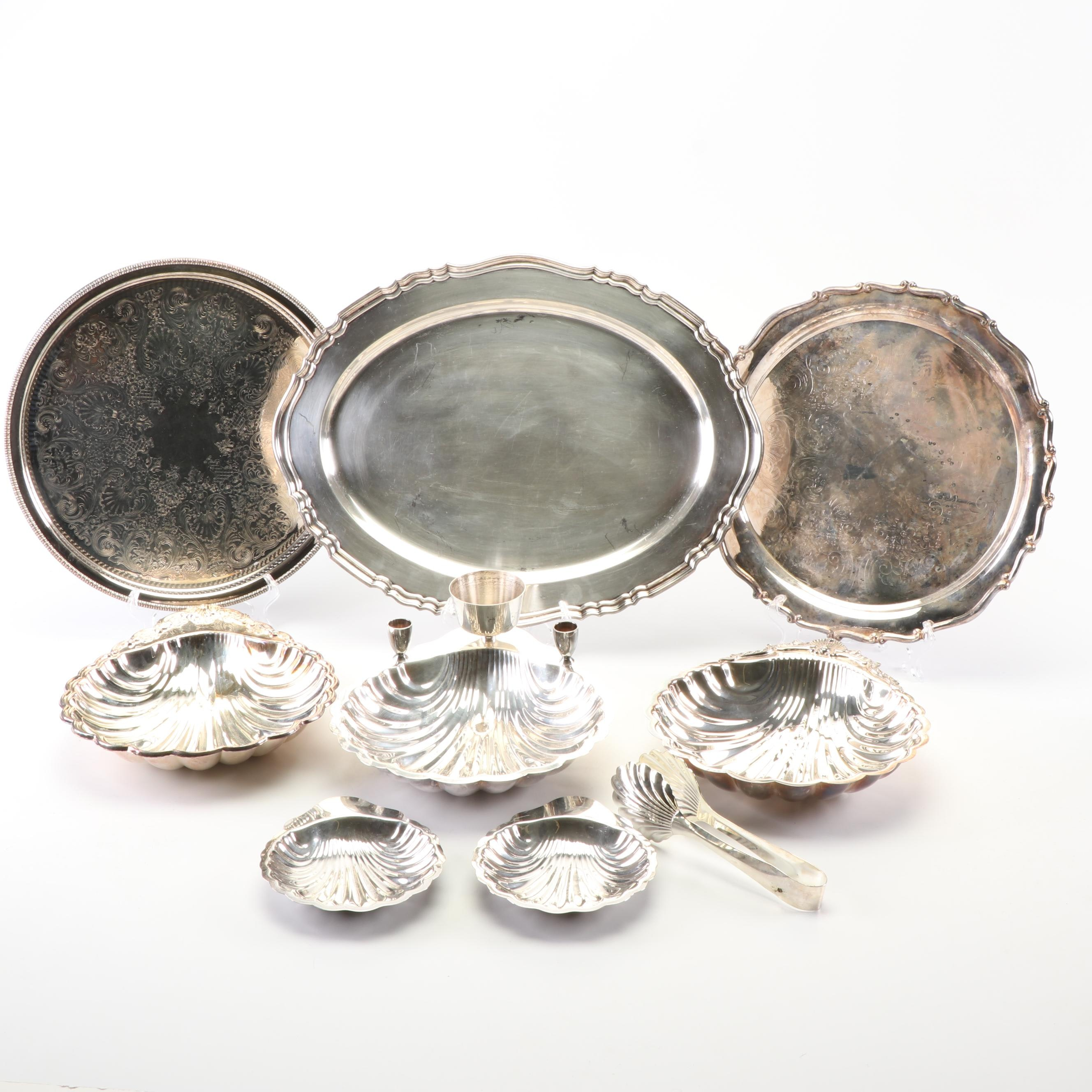"International Silver Co. ""Chippendale"" Platter with Other Silver Plate Serveware"