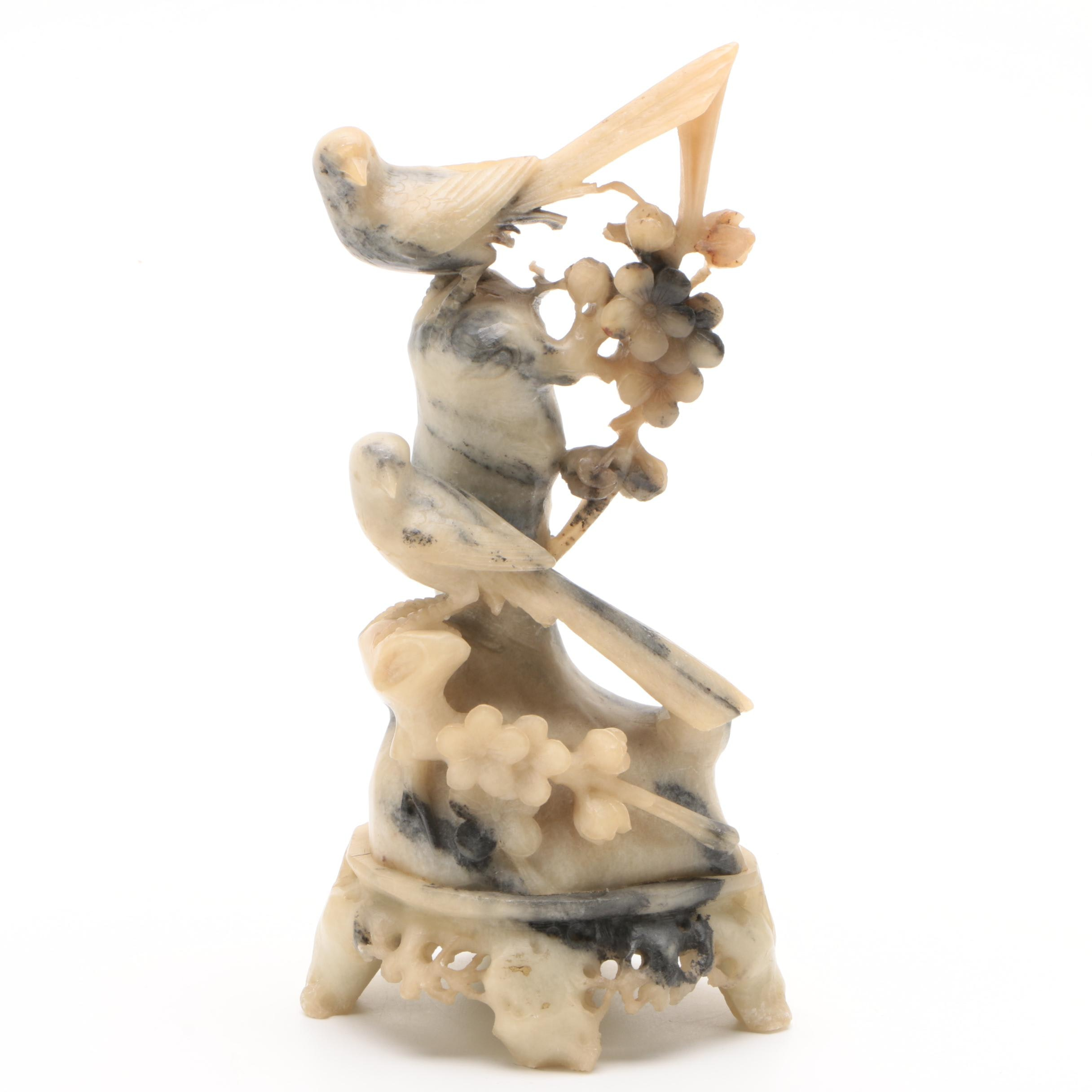 Chinese Carved Soapstone Figurine of Birds