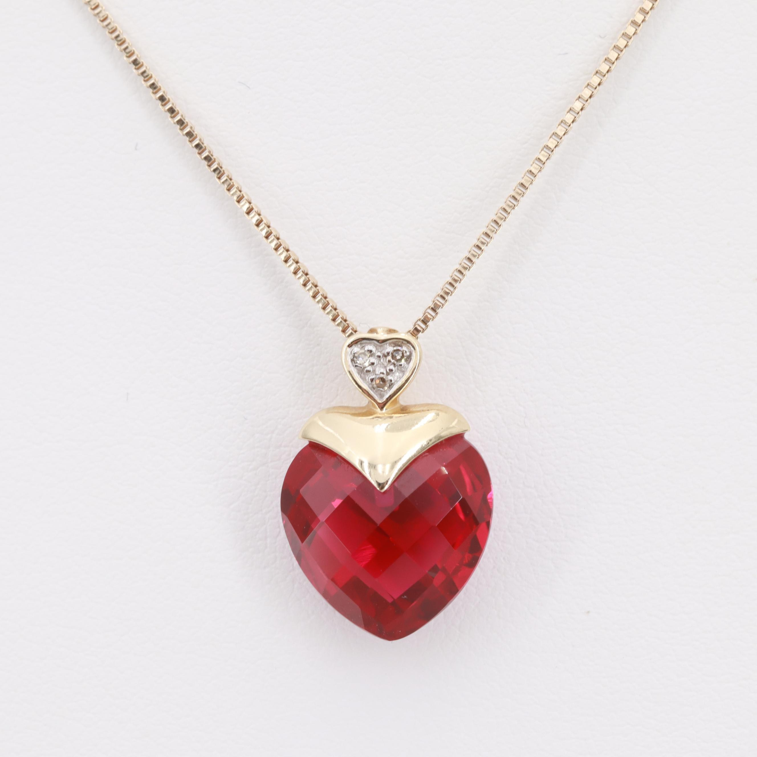 Alwand Vahan Sterling Silver and 10K Gold Synthetic Ruby and Diamond Necklace