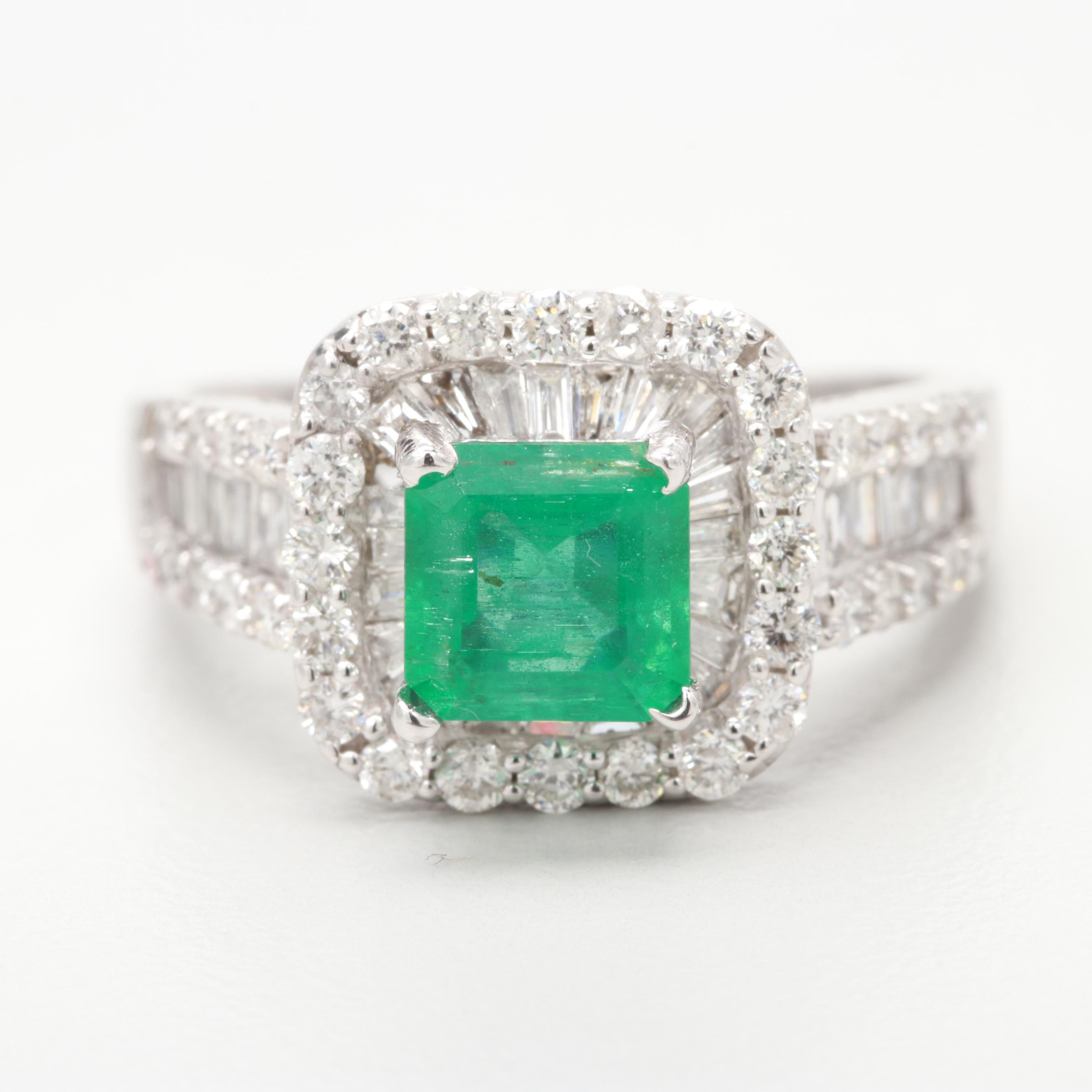 14K White Gold Emerald and 1.02 CTW Diamond Ring
