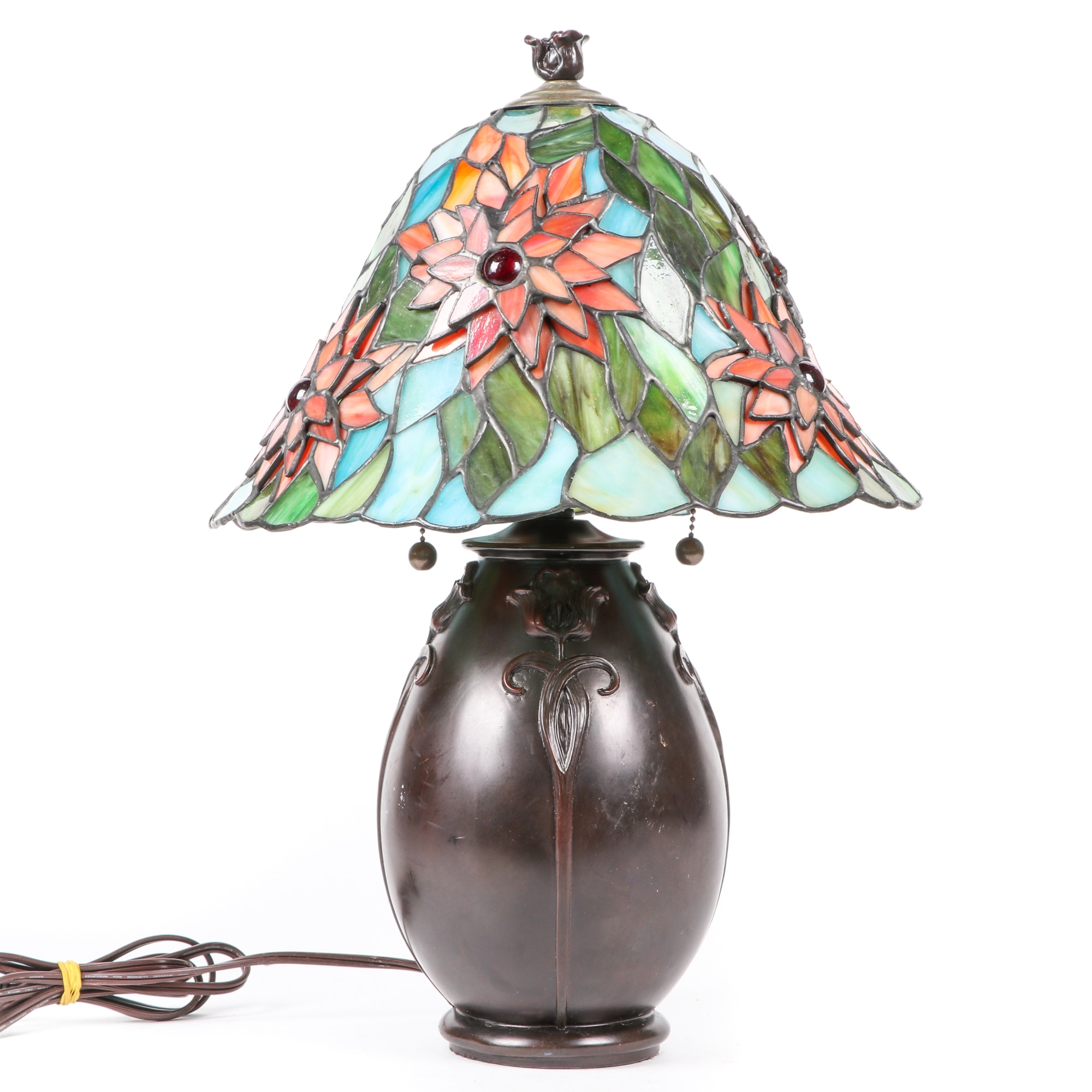 Art Nouveau Style Table Lamp with Three-Dimensional Slag Glass Shade