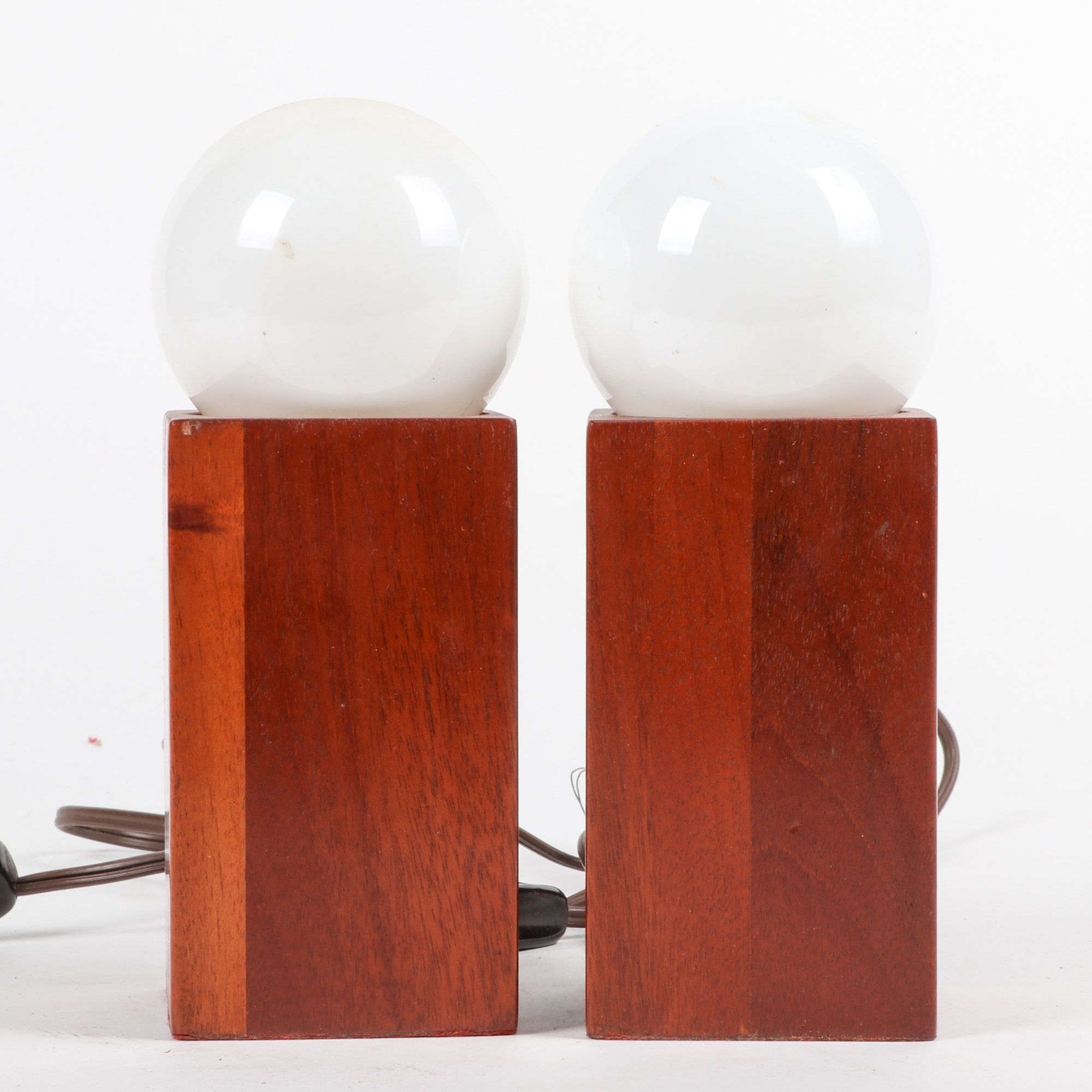 Mid-Century Wood Block Lamps