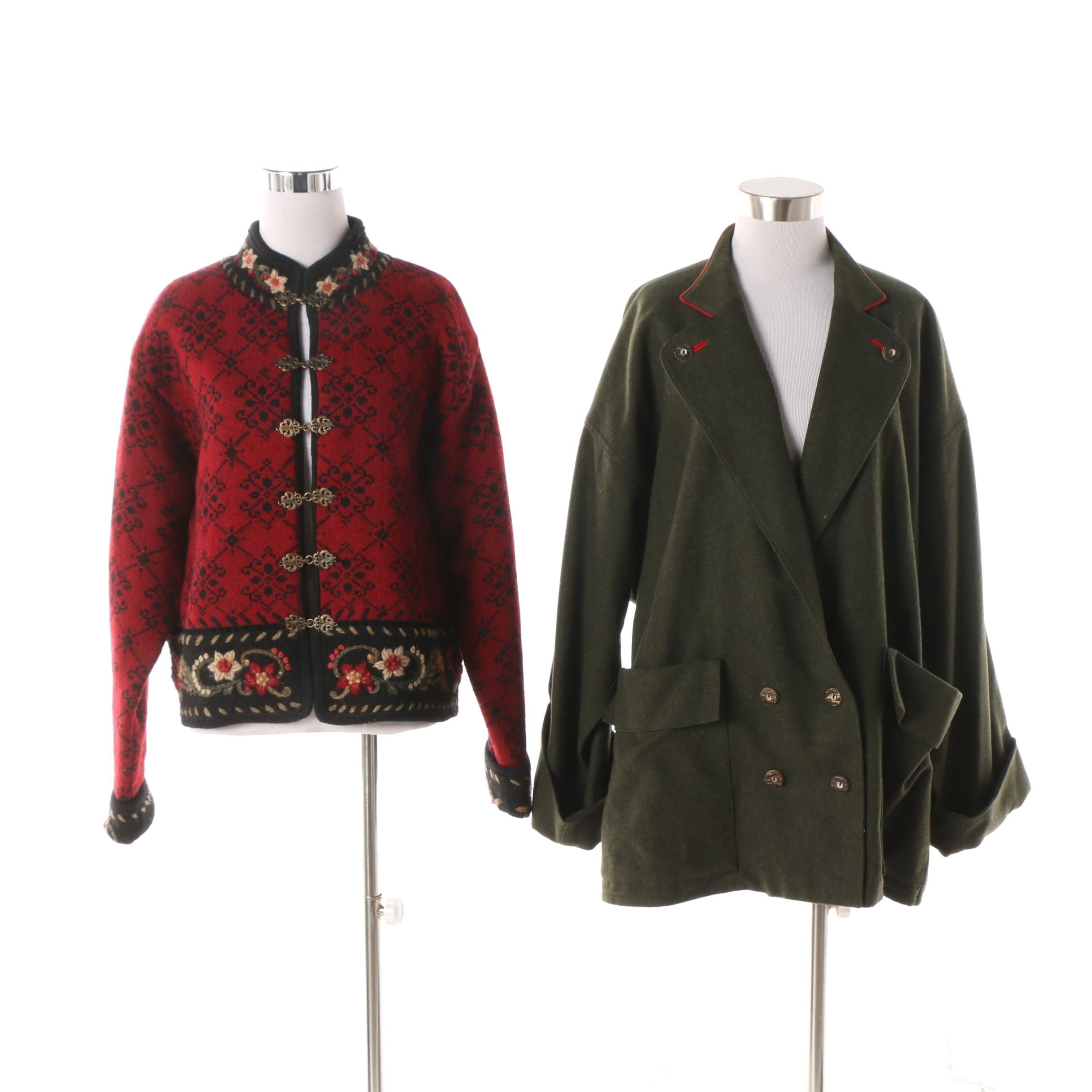 Women's Wallach Double-Breasted Wool Jacket and Icelandic Design Wool Cardigan