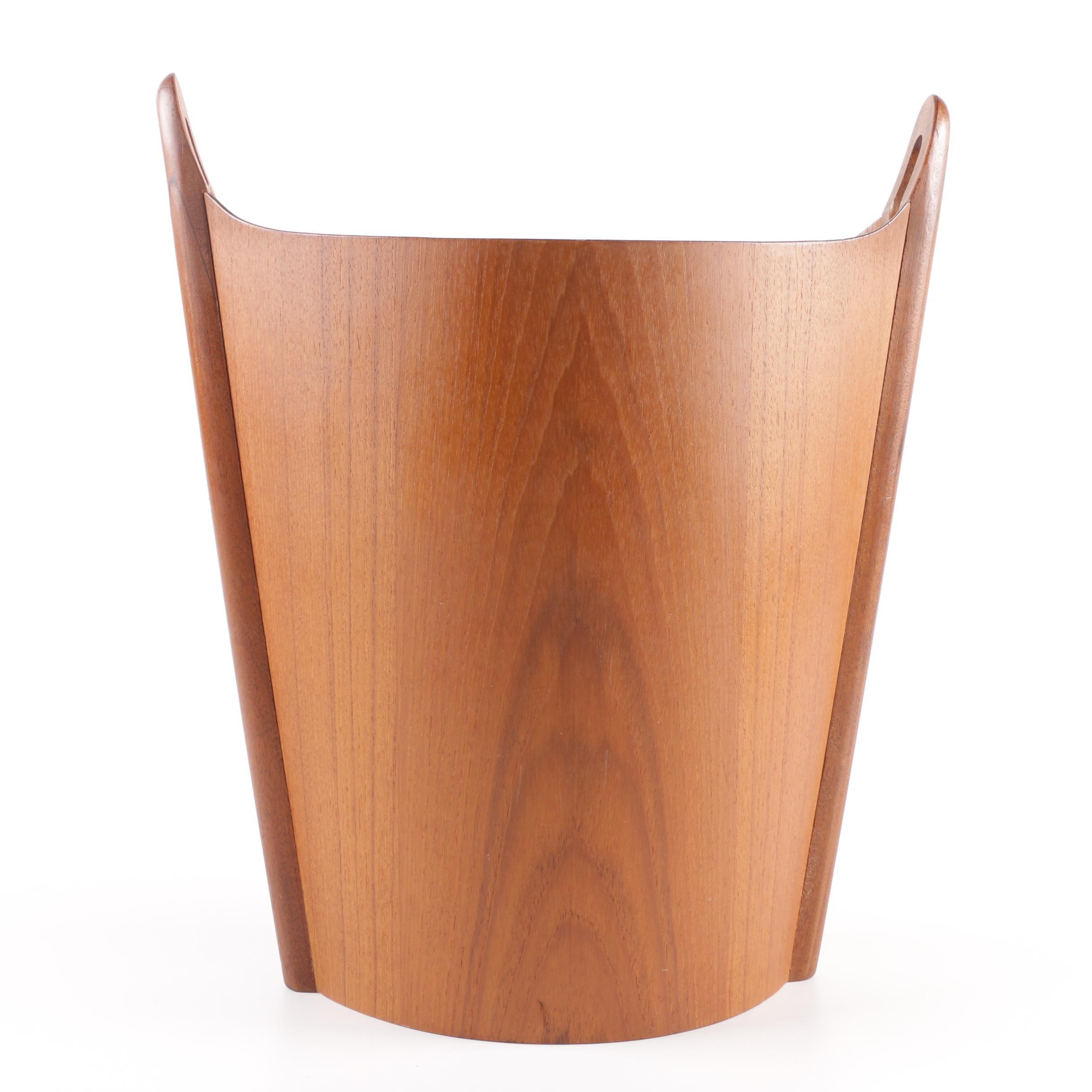 PS Heggen Mid Century Modern Teak Wood Trash Can