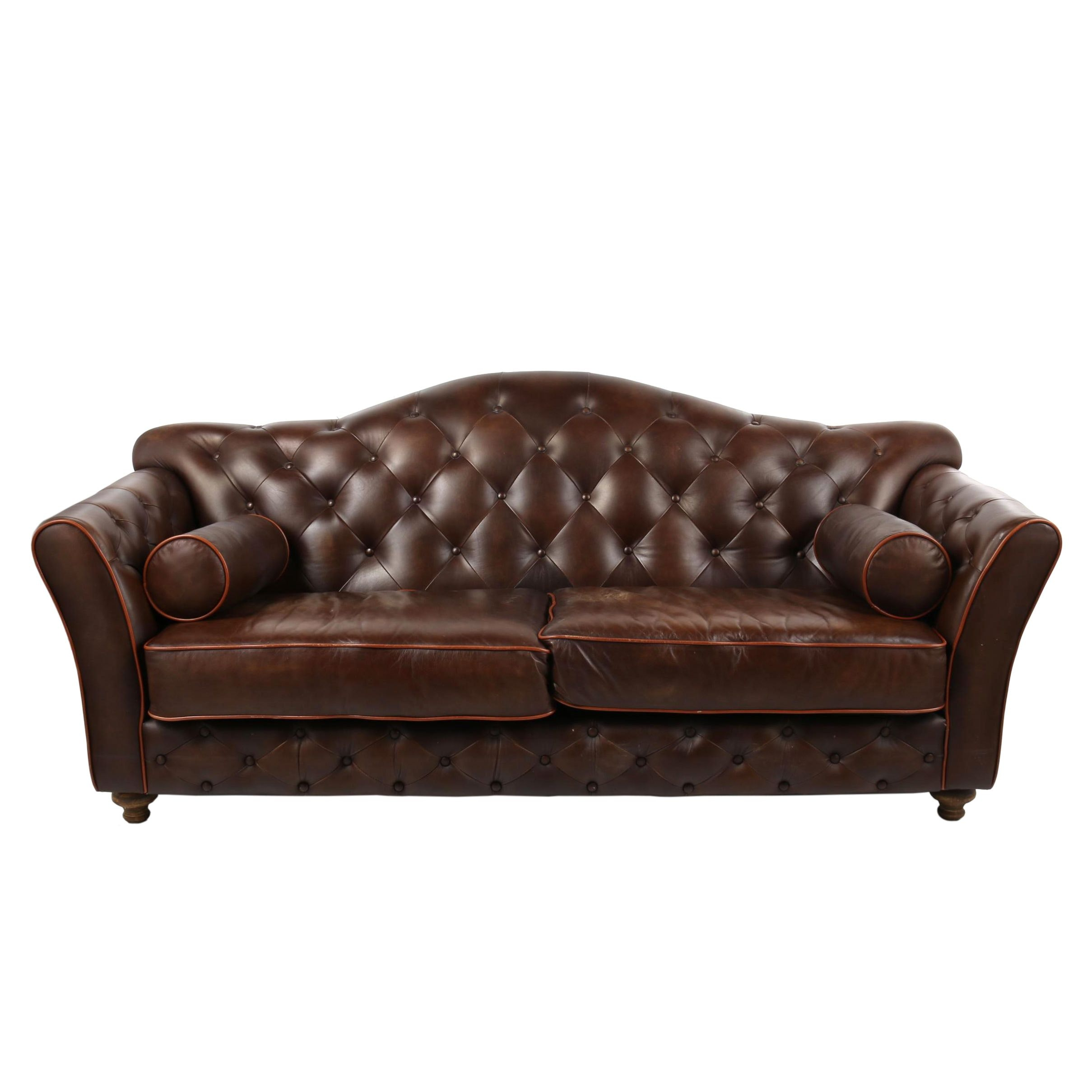 Leather Button-Tufted Sofa, 21st Century