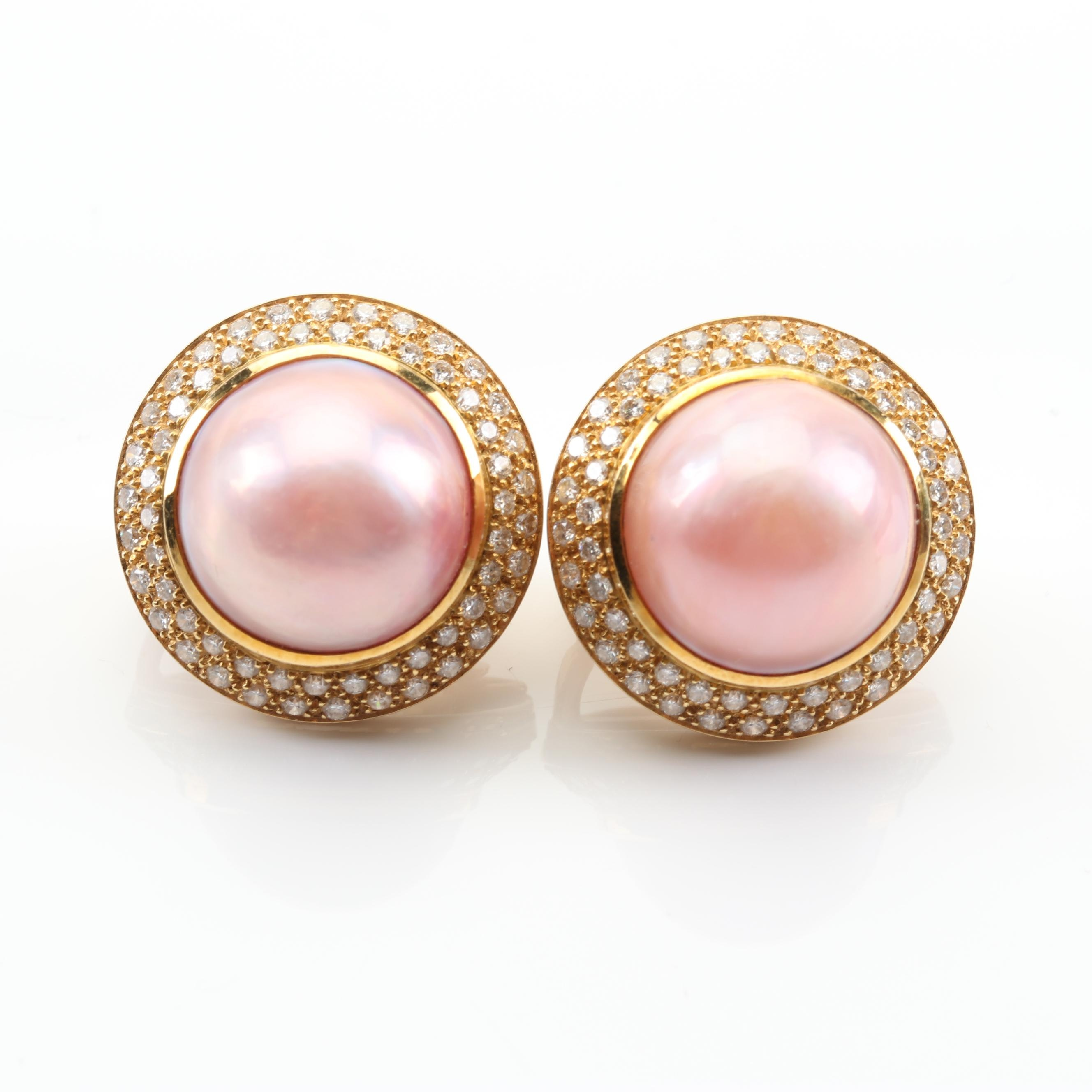 18K Yellow Gold 2.00 CTW Diamond and Mabe Pearl Earrings