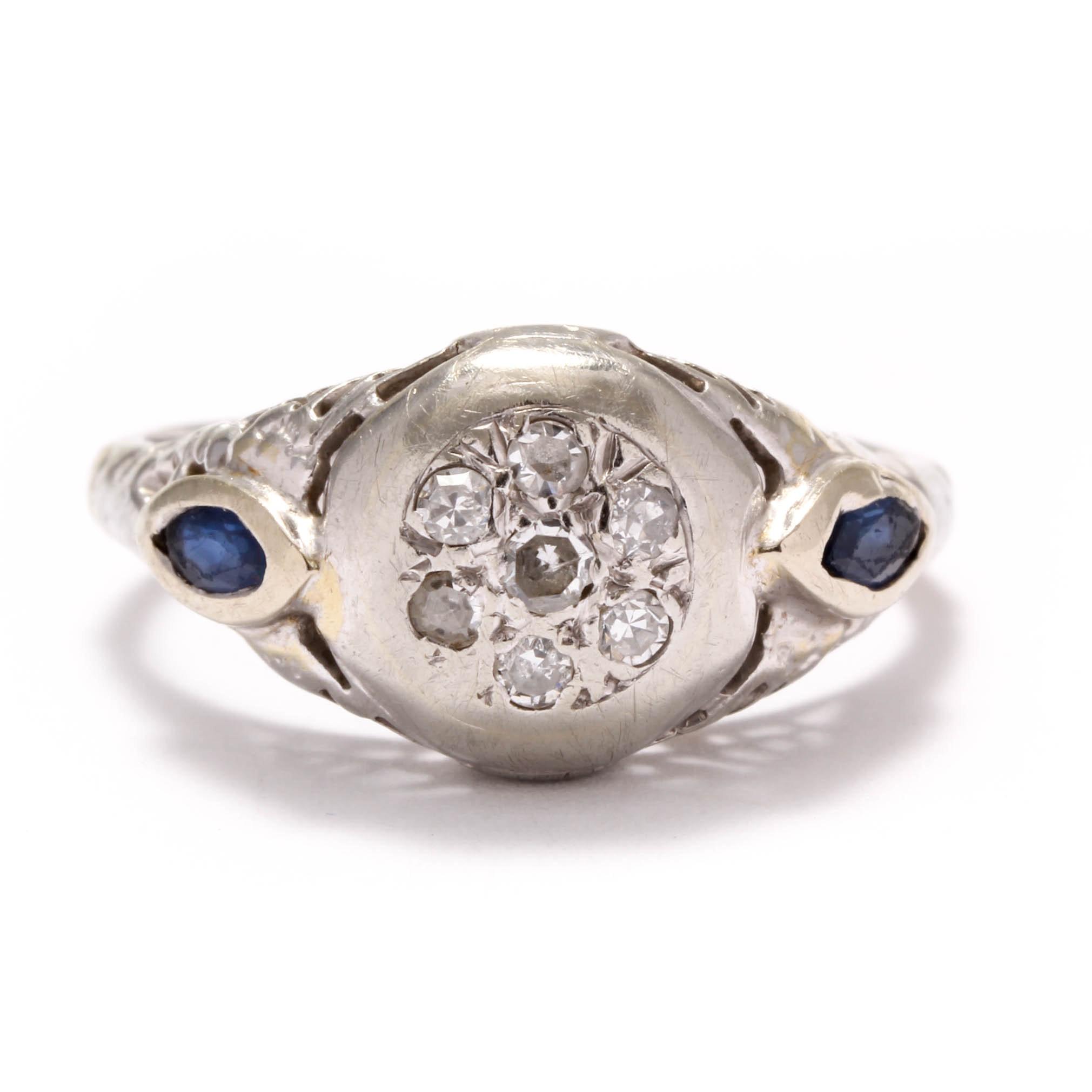 Late Edwardian 14K White Gold Diamond and Sapphire Ring