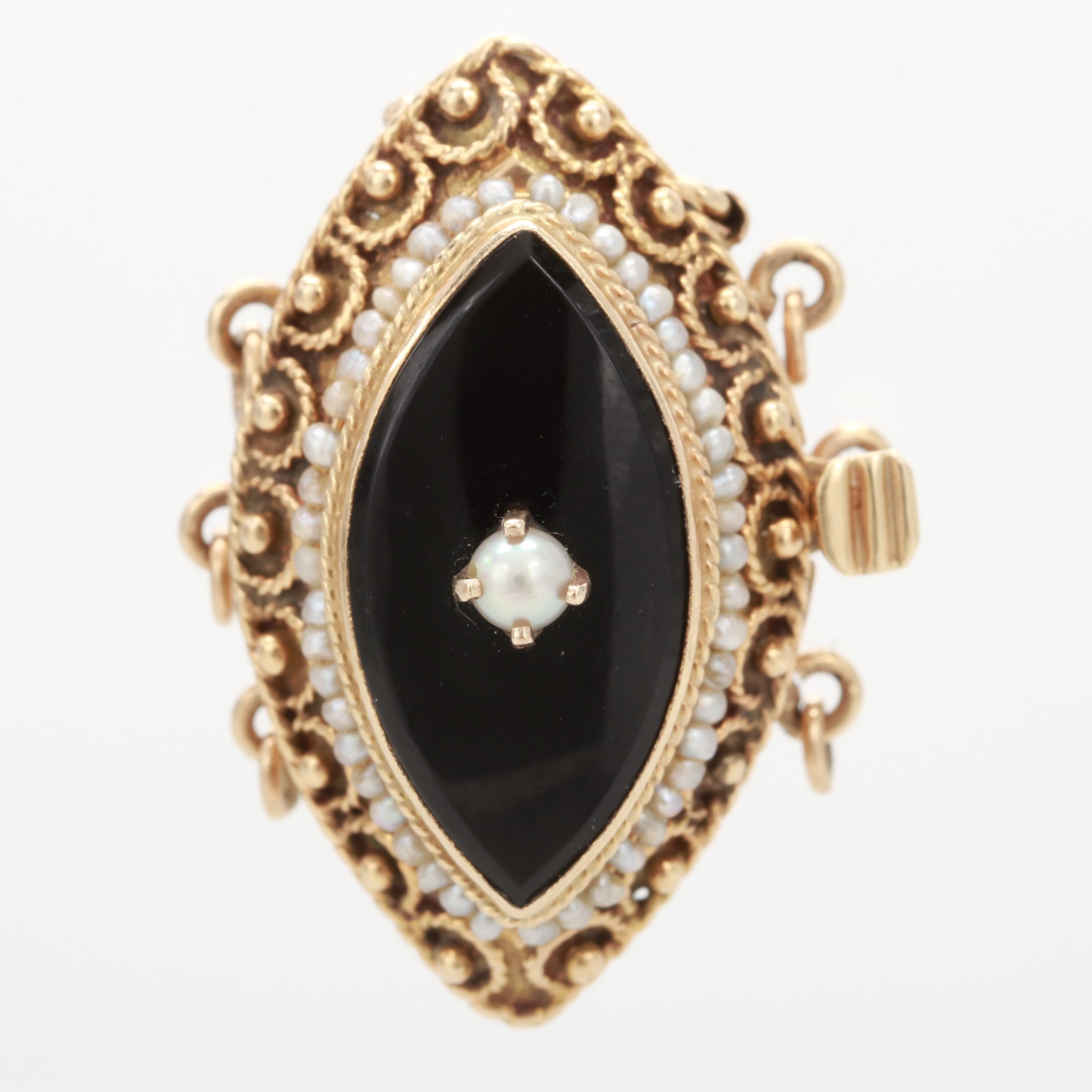 14K Yellow Gold Black Onyx and Cultured Seed Pearl Clasp