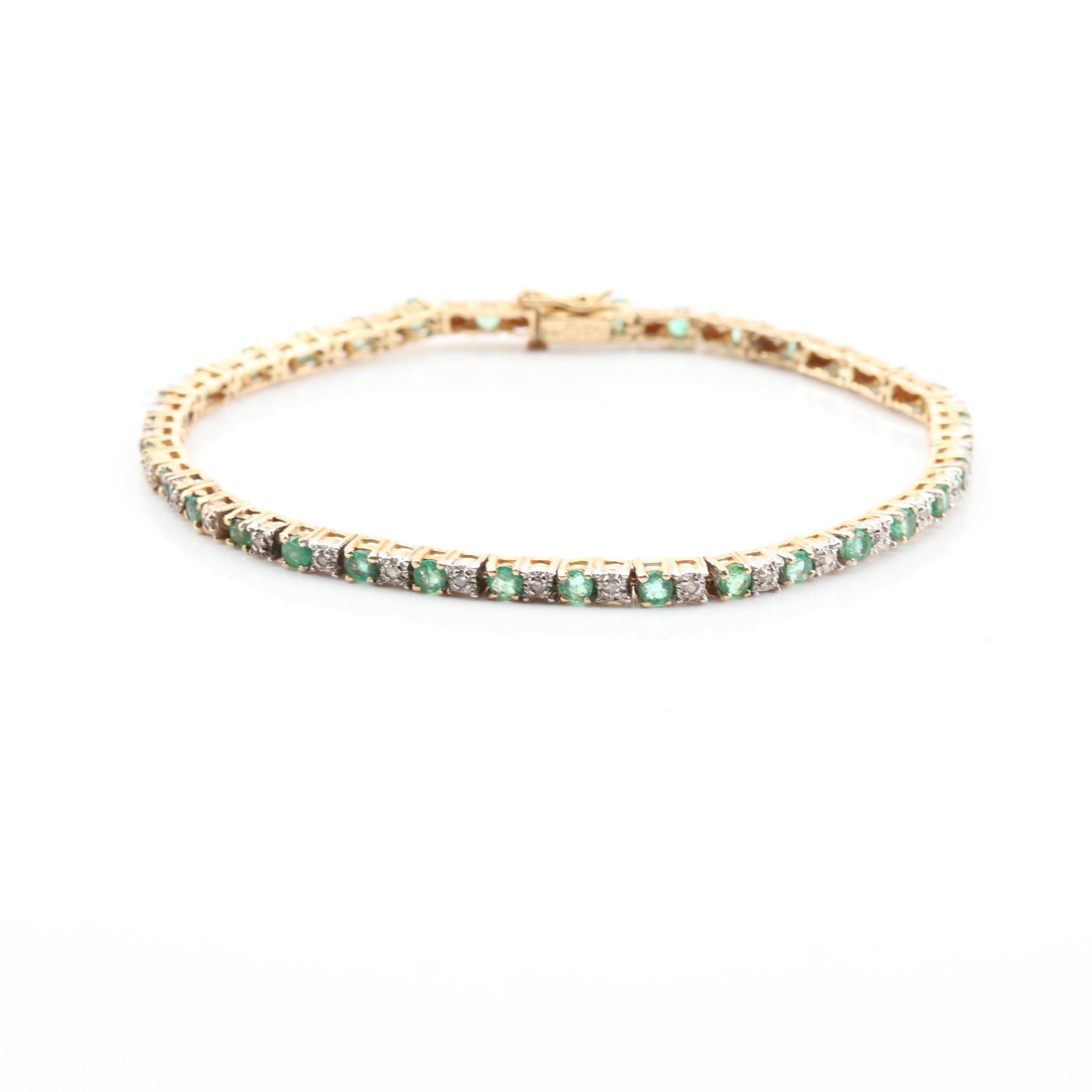 14K Yellow Gold 1.70 CTW Emerald and Diamond Bracelet