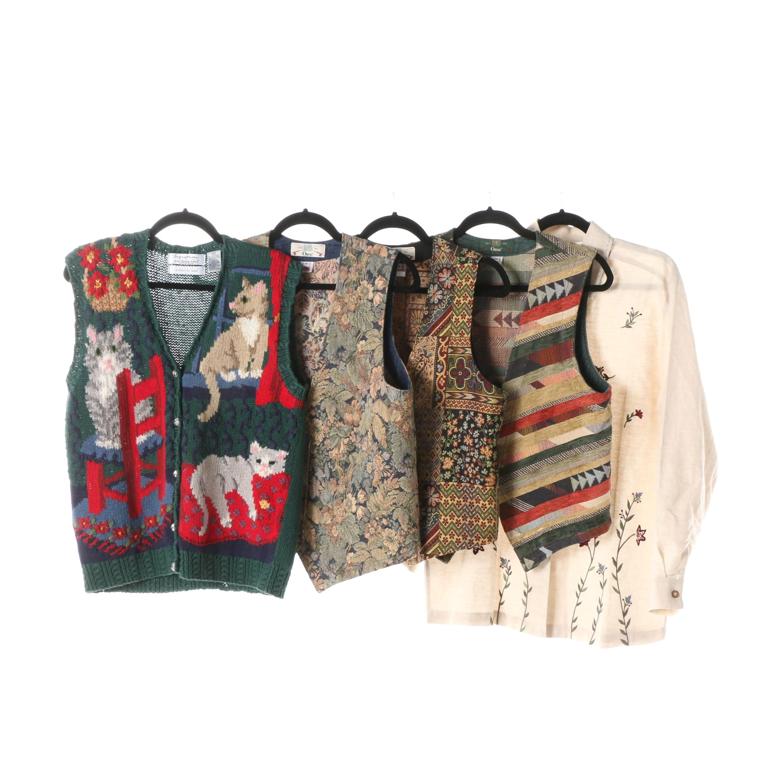 Women's Vests and Button-Front Shirt including Talbots and Orvis