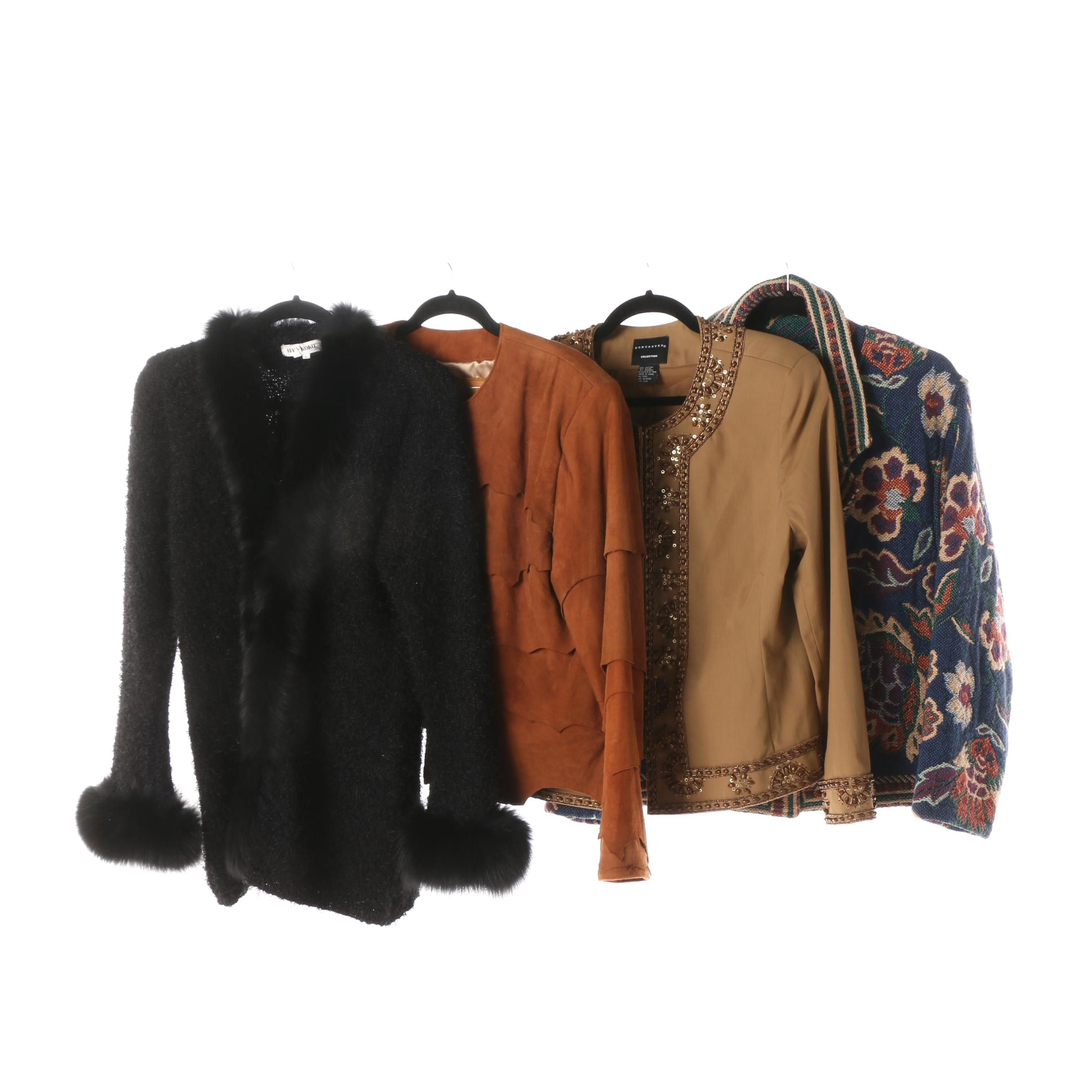 Women's Jackets and Halukoko Cardigan with Fox Fur Trim
