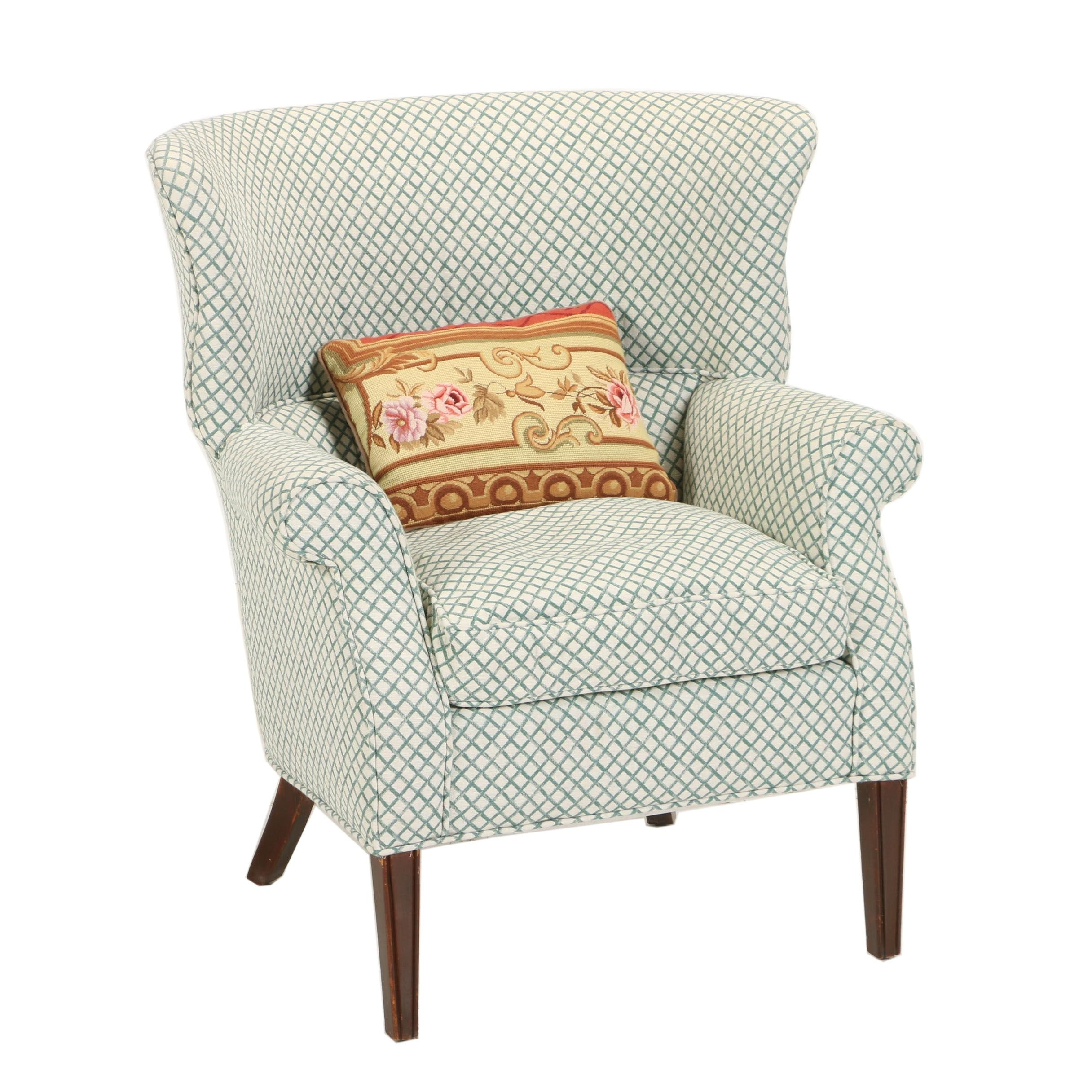 Federal Style Lattice-Upholstered Wing Chair, 20th Century
