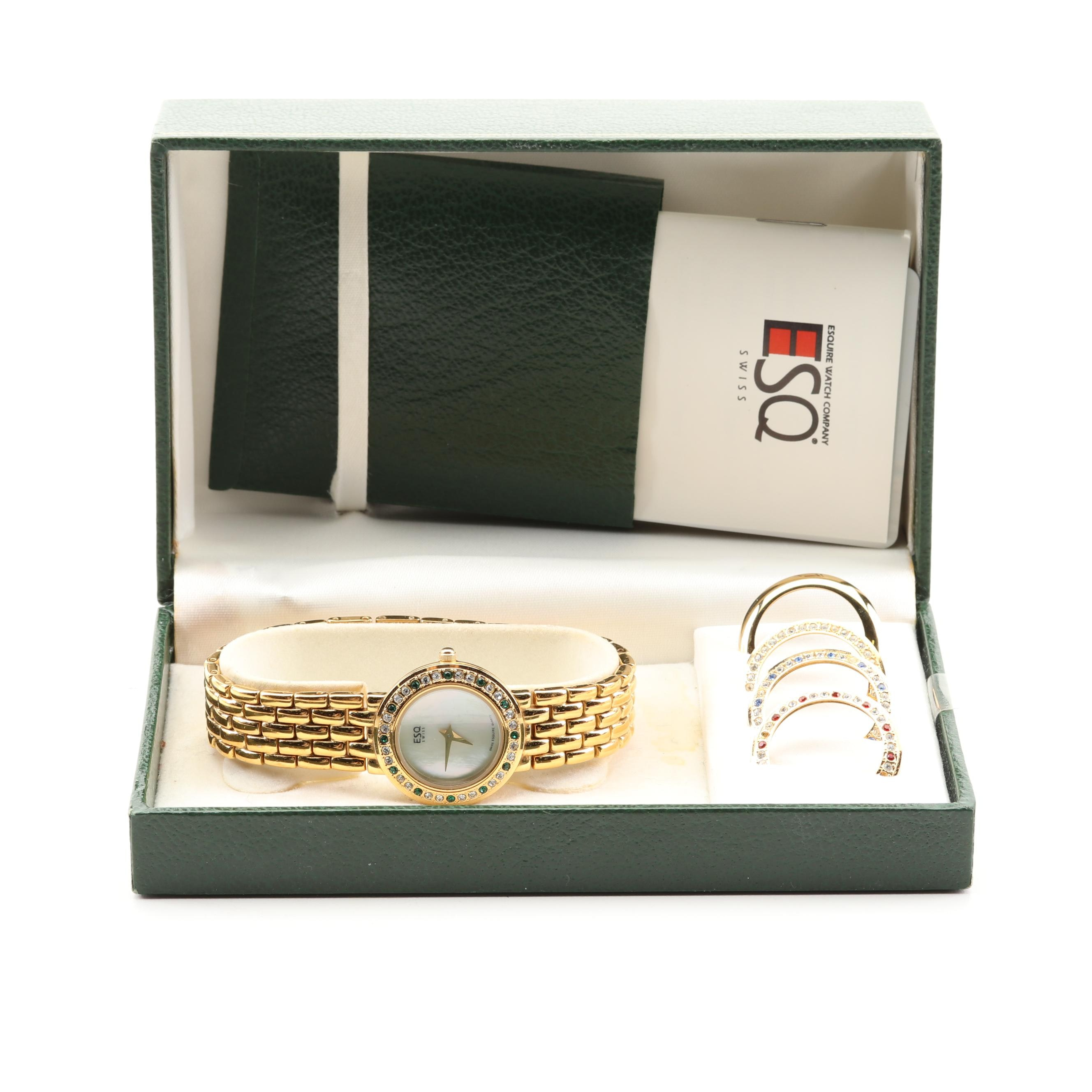 ESQ Gold Plated Mother of Pearl Wristwatch with Interchangeable Bezels