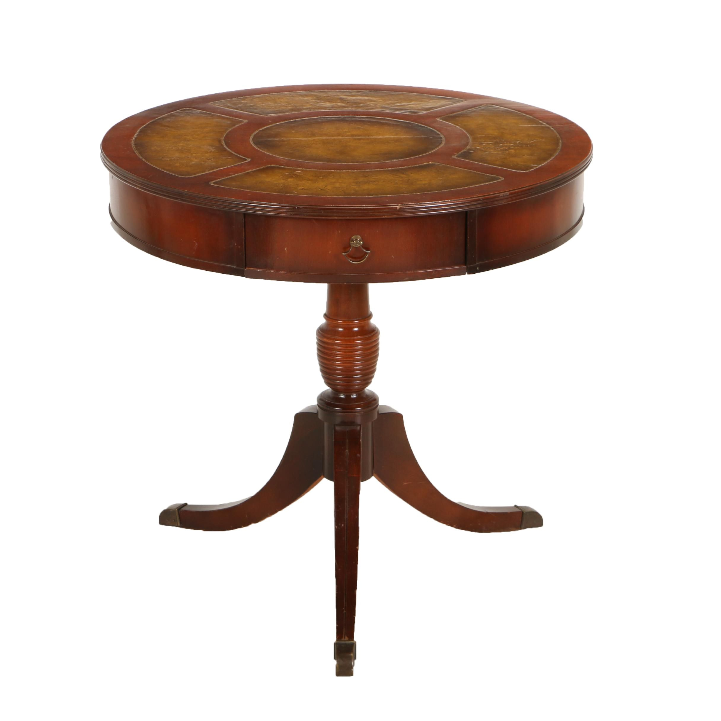 Classical Style Mahogany and Leather Drum Table, 20th Century
