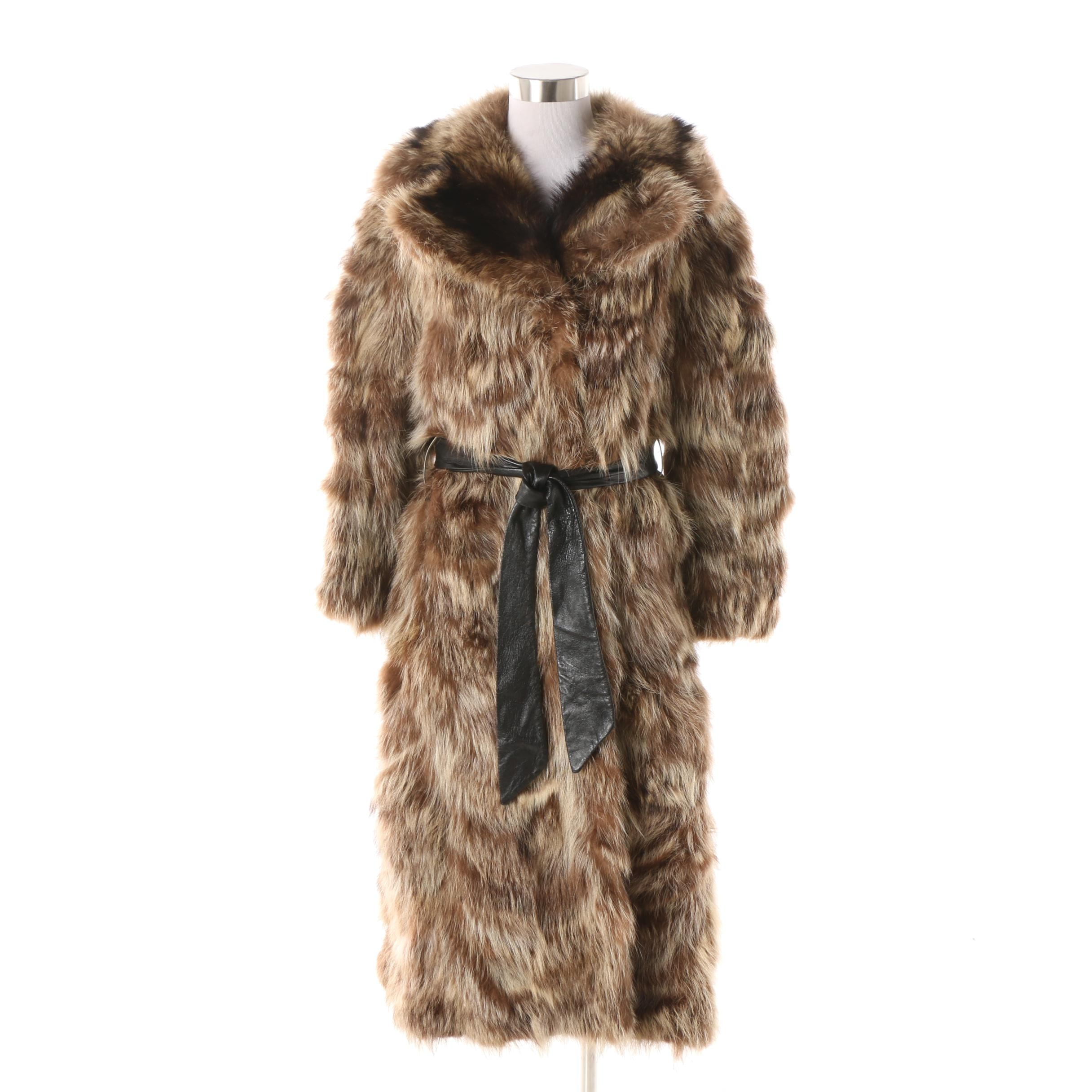 1960s Oleg Cassini for Javurek Furs Tanuki Fur Coat