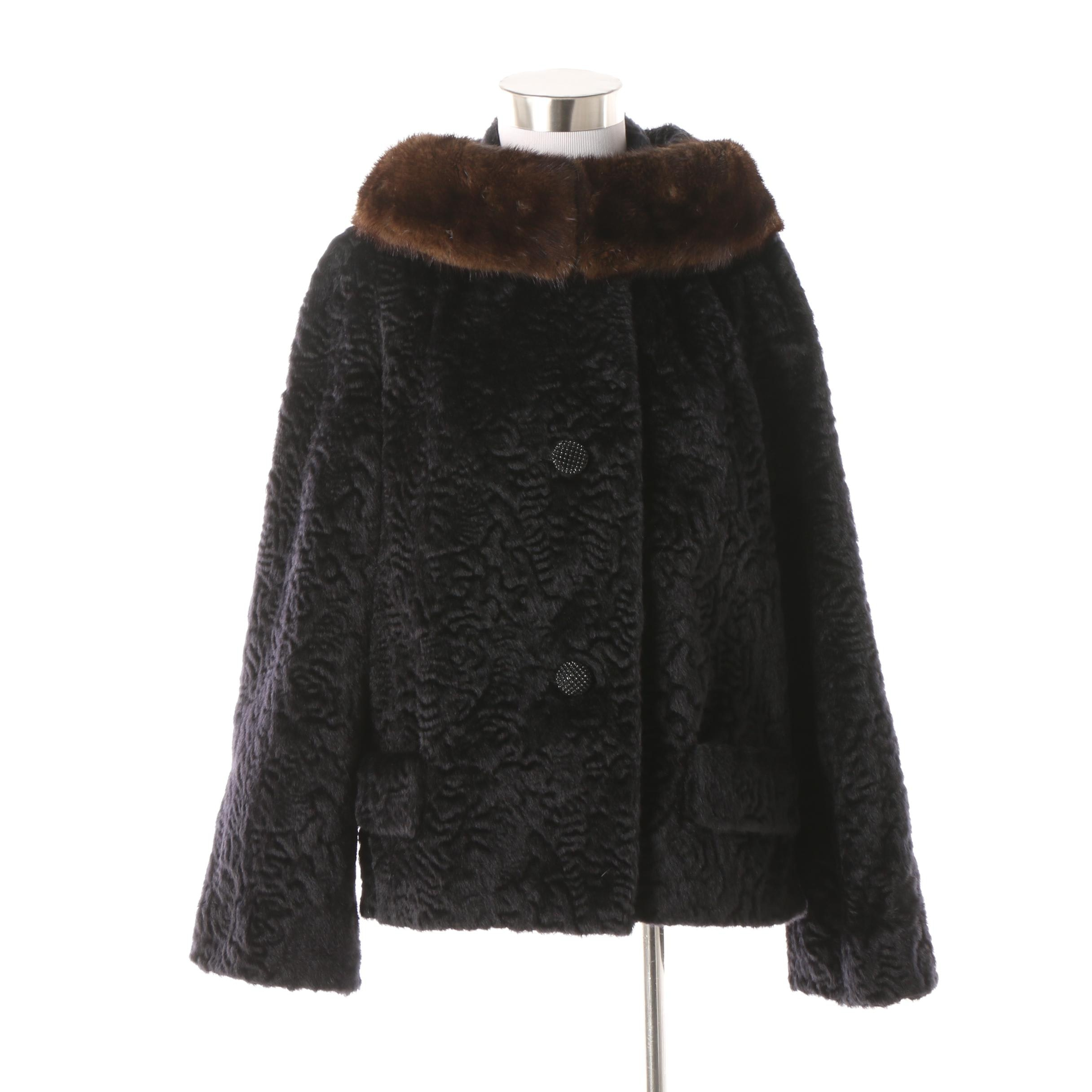 Evans Chicago Faux Broadtail Lamb Fur Jacket with Mink Fur Collar