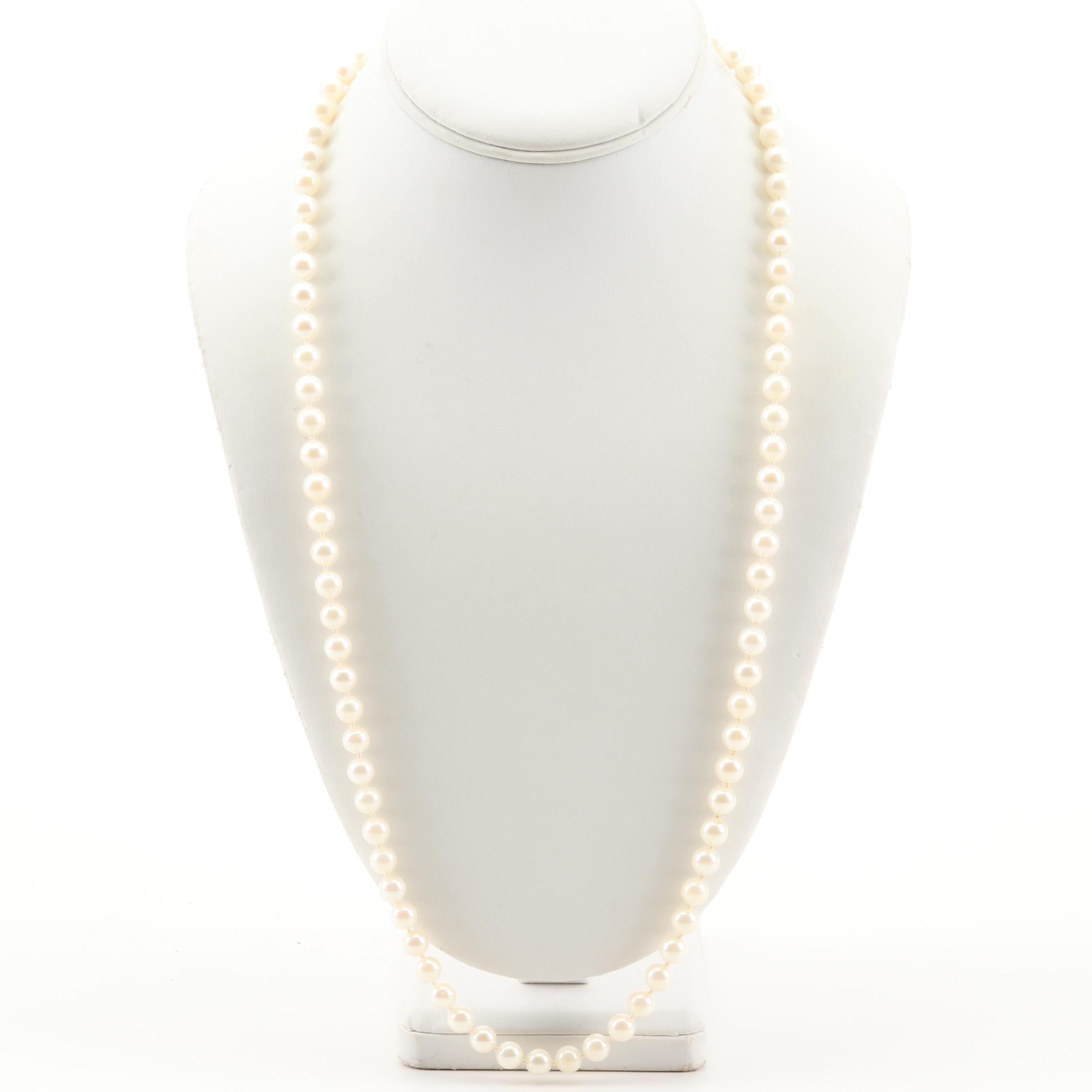 14K Yellow Gold Freshwater Cultured Pearl Necklace