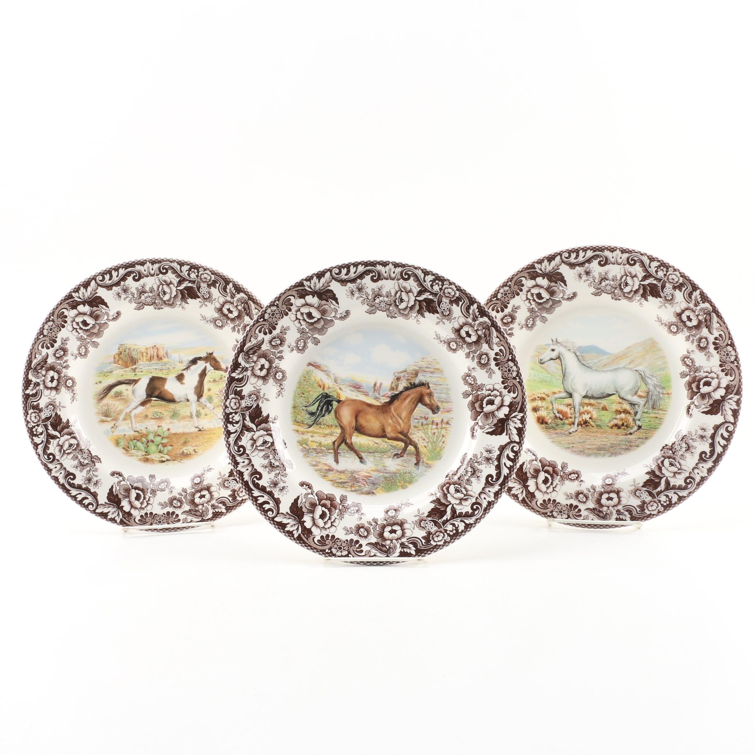 """Spode """"Woodland"""" Wild Horses Dinner Plates"""