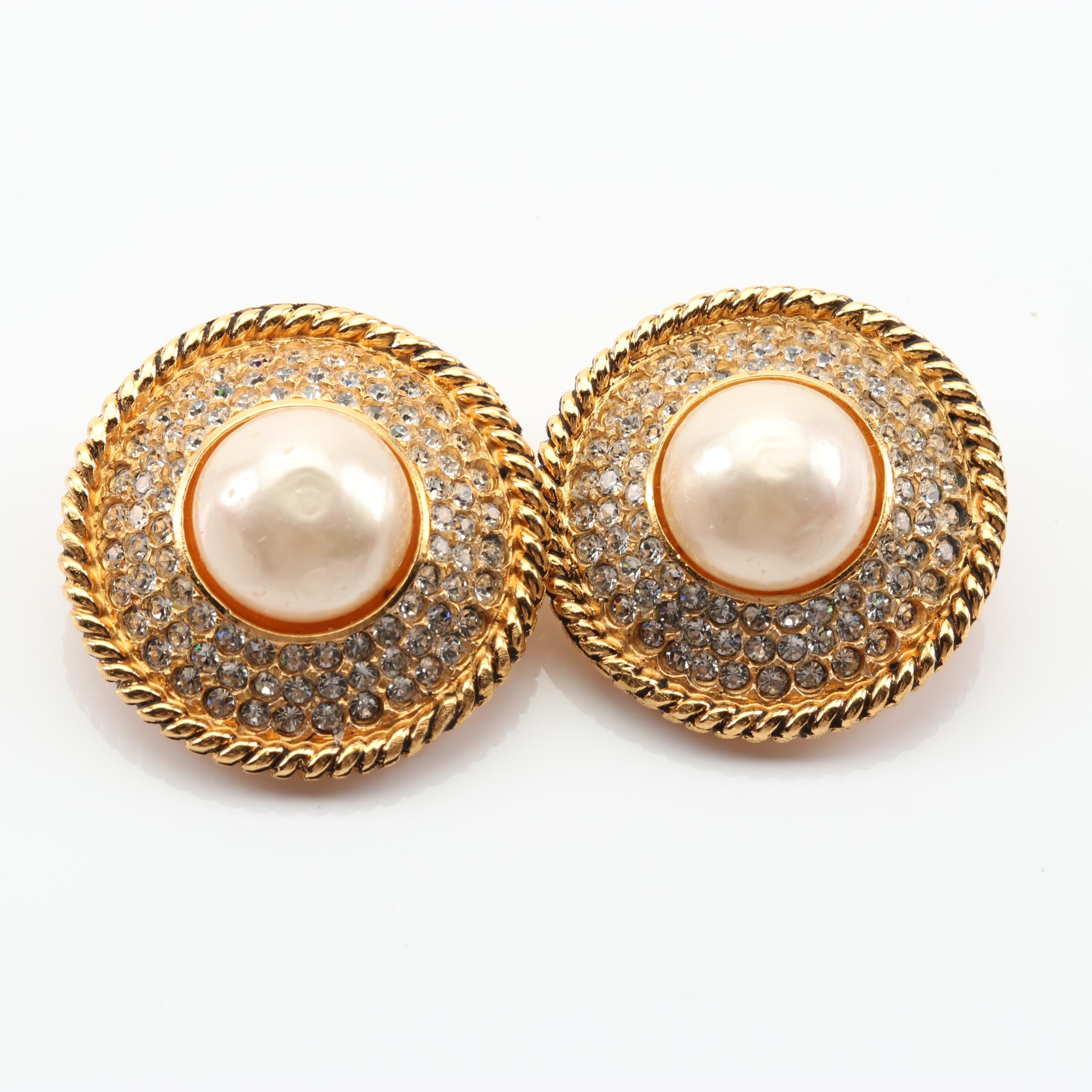 Vintage Chanel Imitation Pearl and Crystal Clip-On Earrings