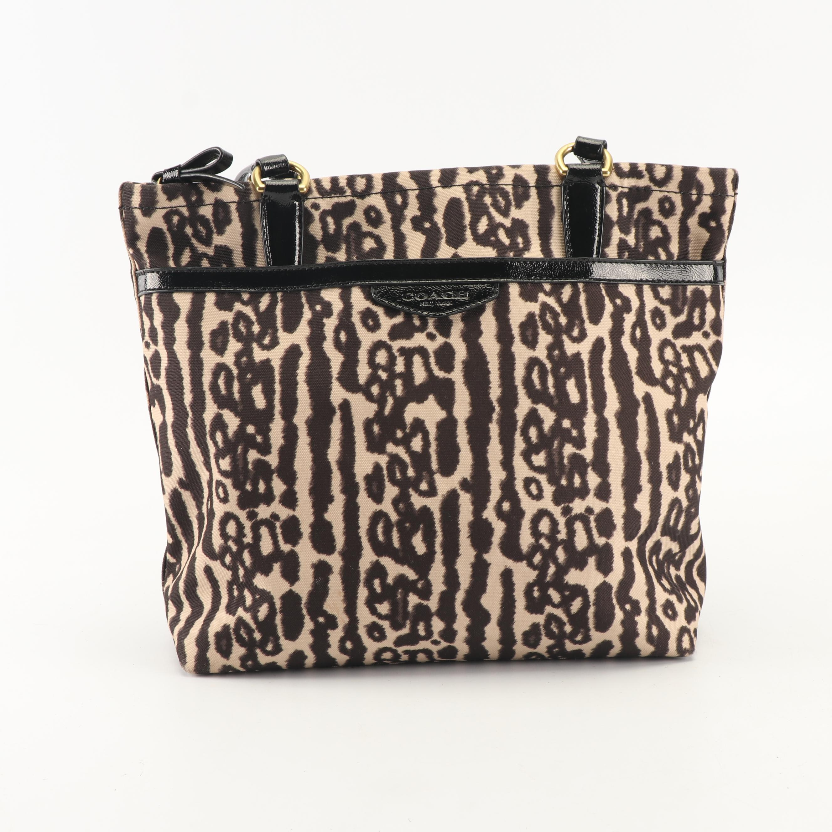 2014 Coach Ocelot Print Canvas and Patent Leather Tote