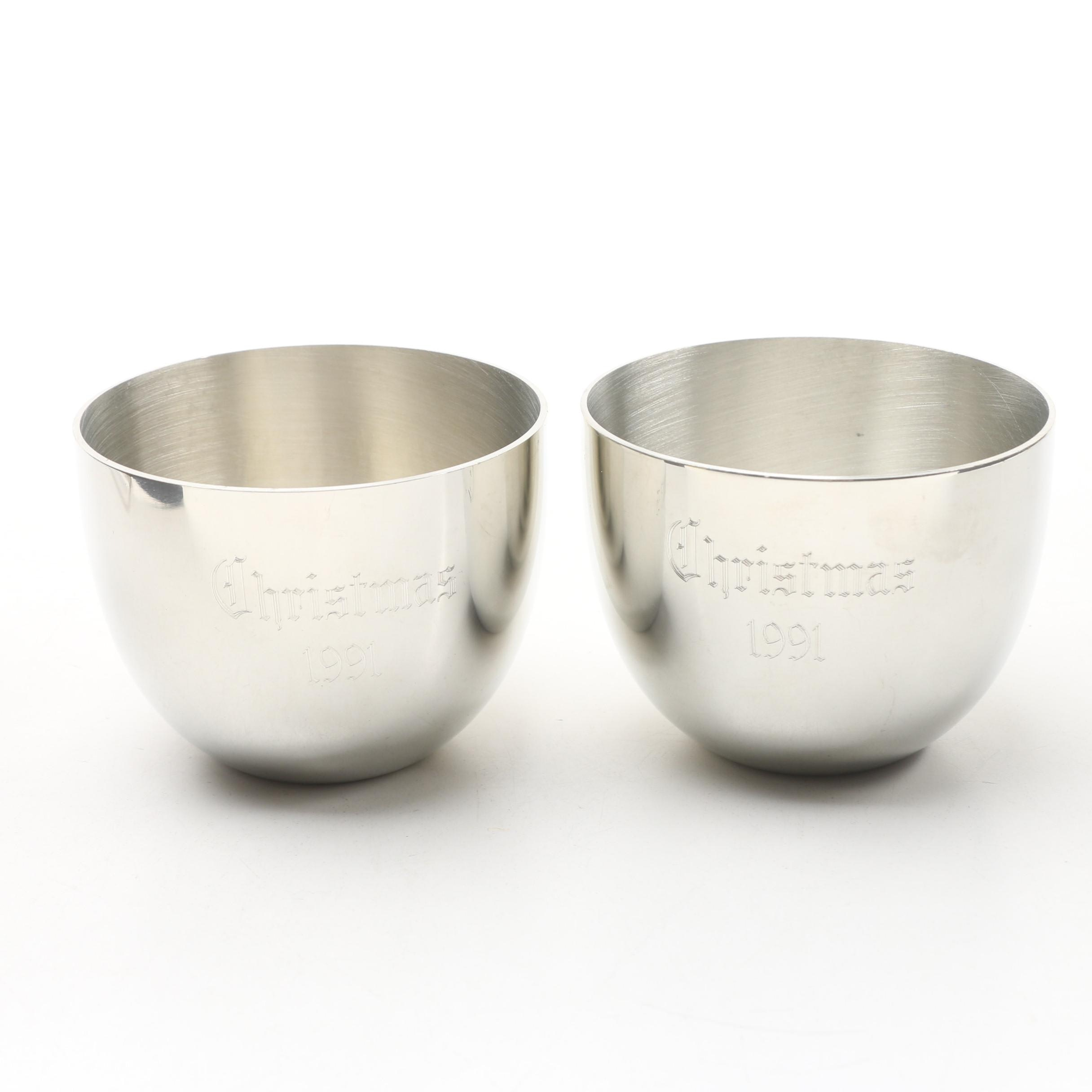 "Kirk-Stieff ""Christmas"" Pewter Jefferson Cups, 1991"