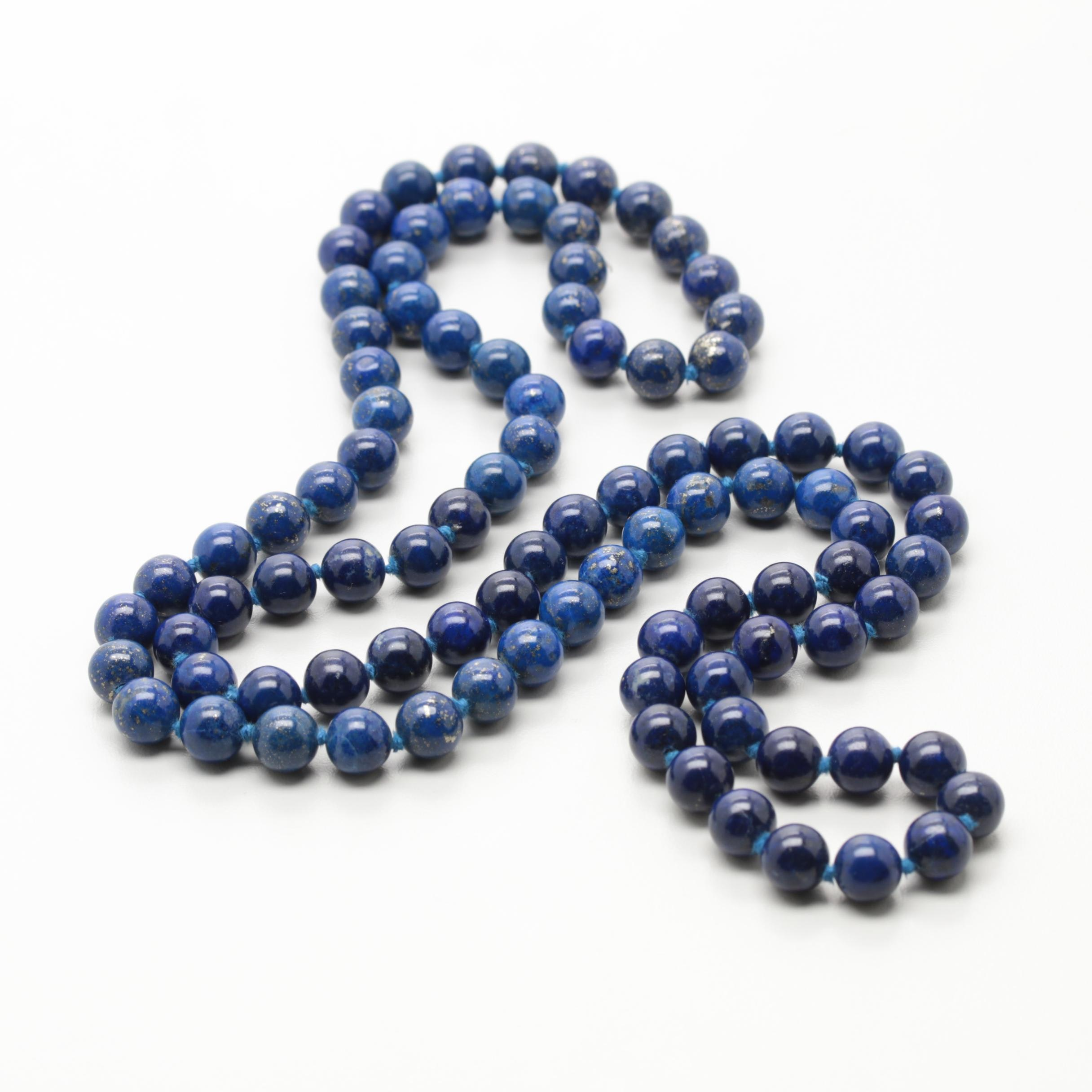 Hand Knotted Endless Beaded Lapis Lazuli Necklace