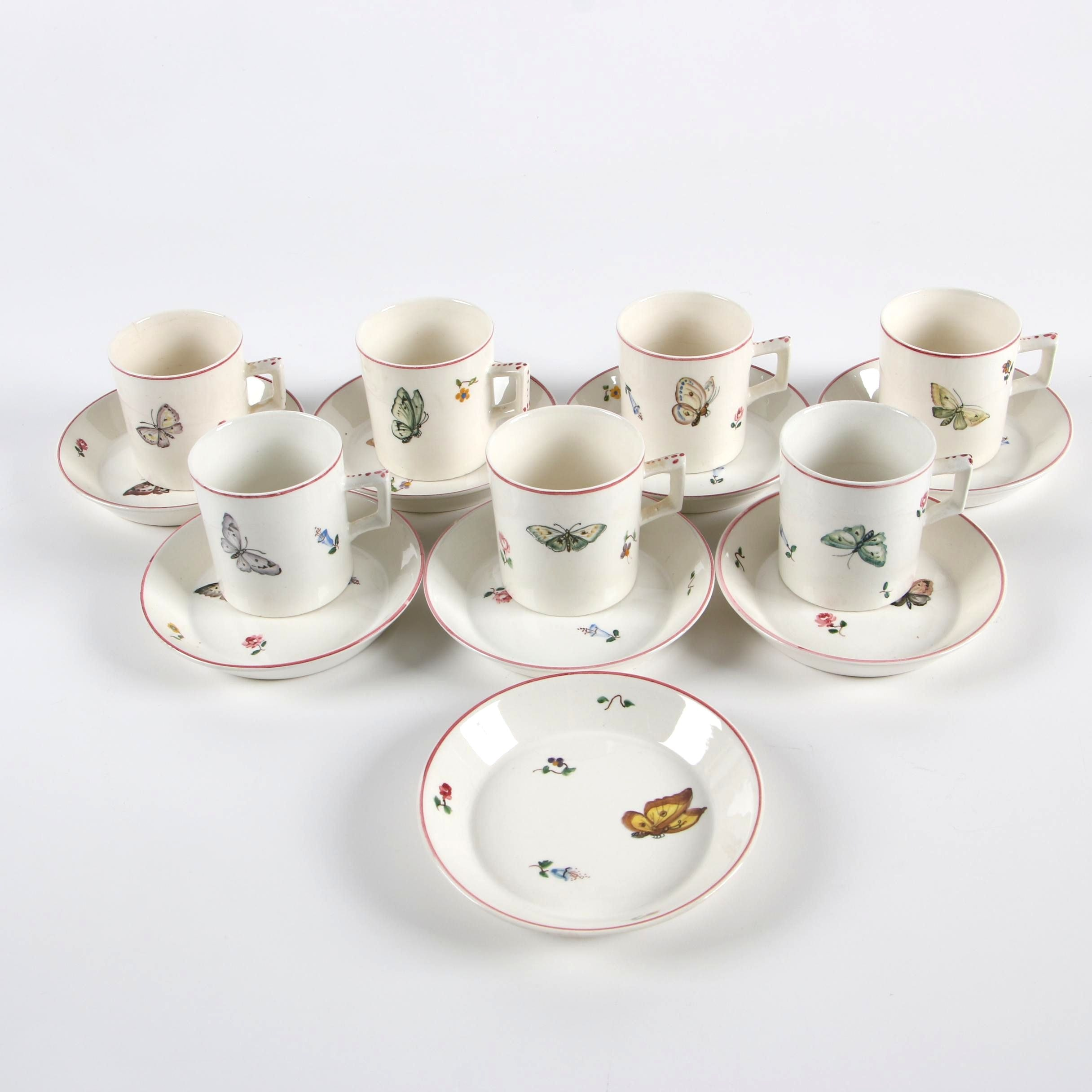 Italian Butterfly Themed Ceramic Demitasse Set
