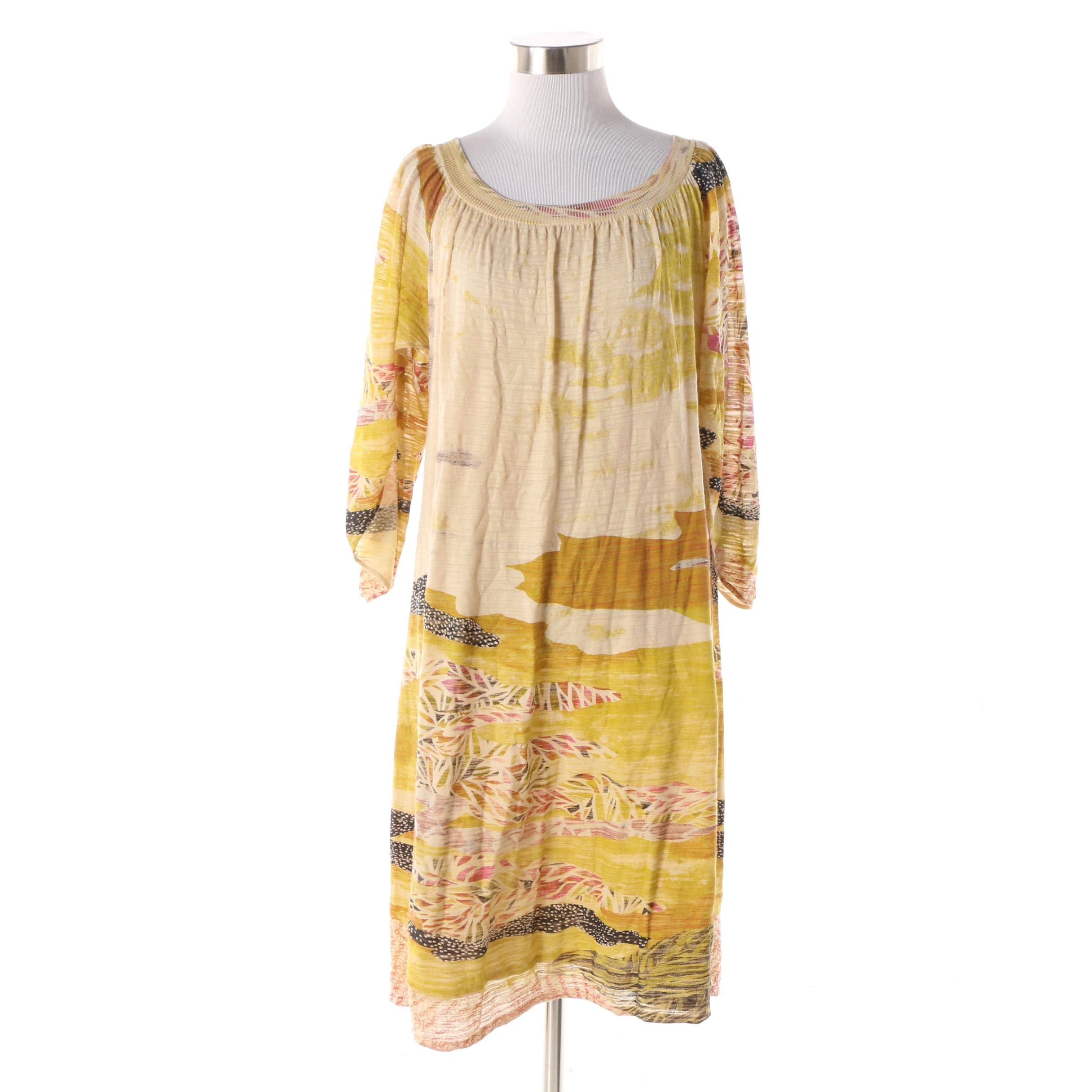 Diane von Furstenberg Open Sleeve Painterly Print Shift Dress