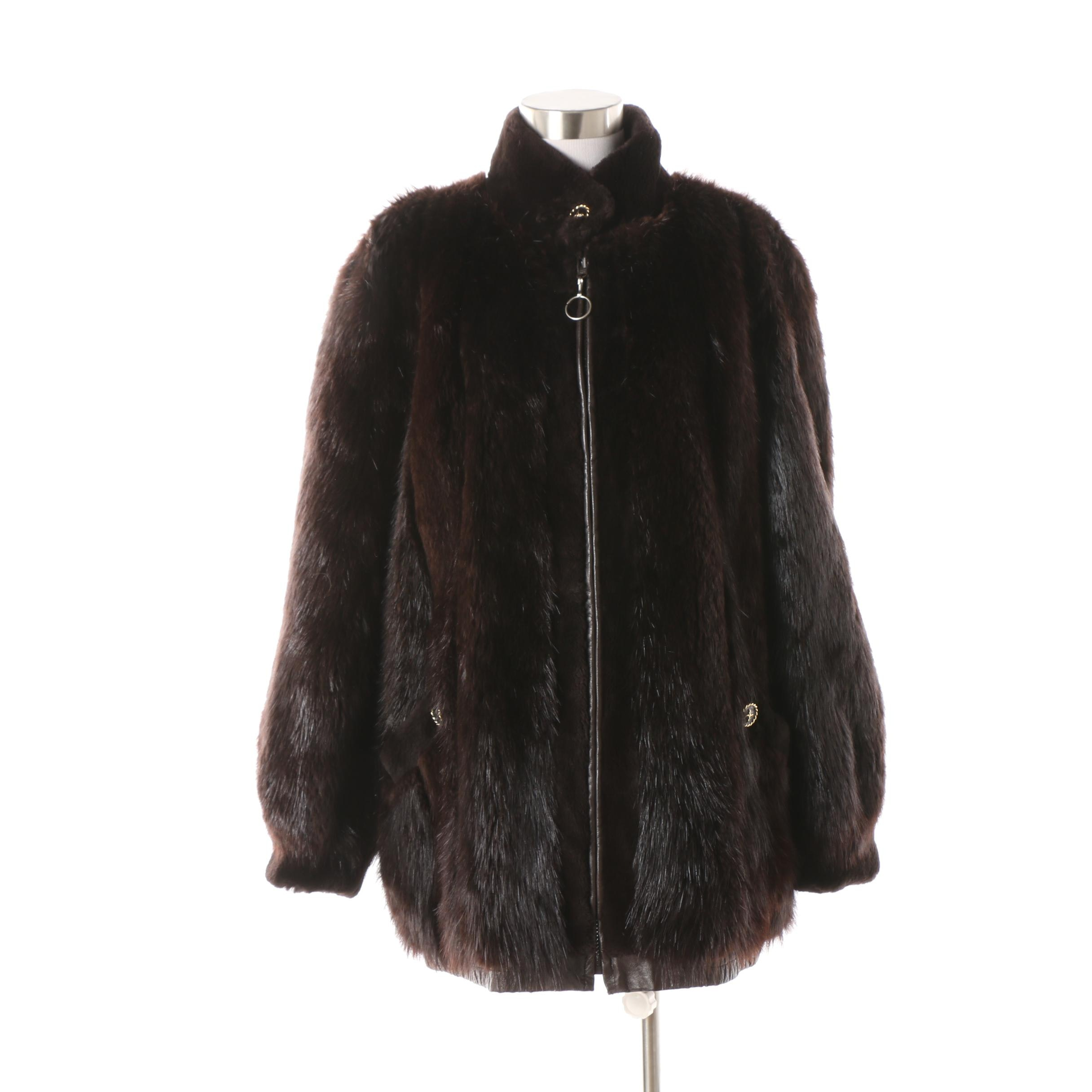 1980s Vintage O'Brien & Sons Furs Beaver Fur and Leather Reversible Jacket