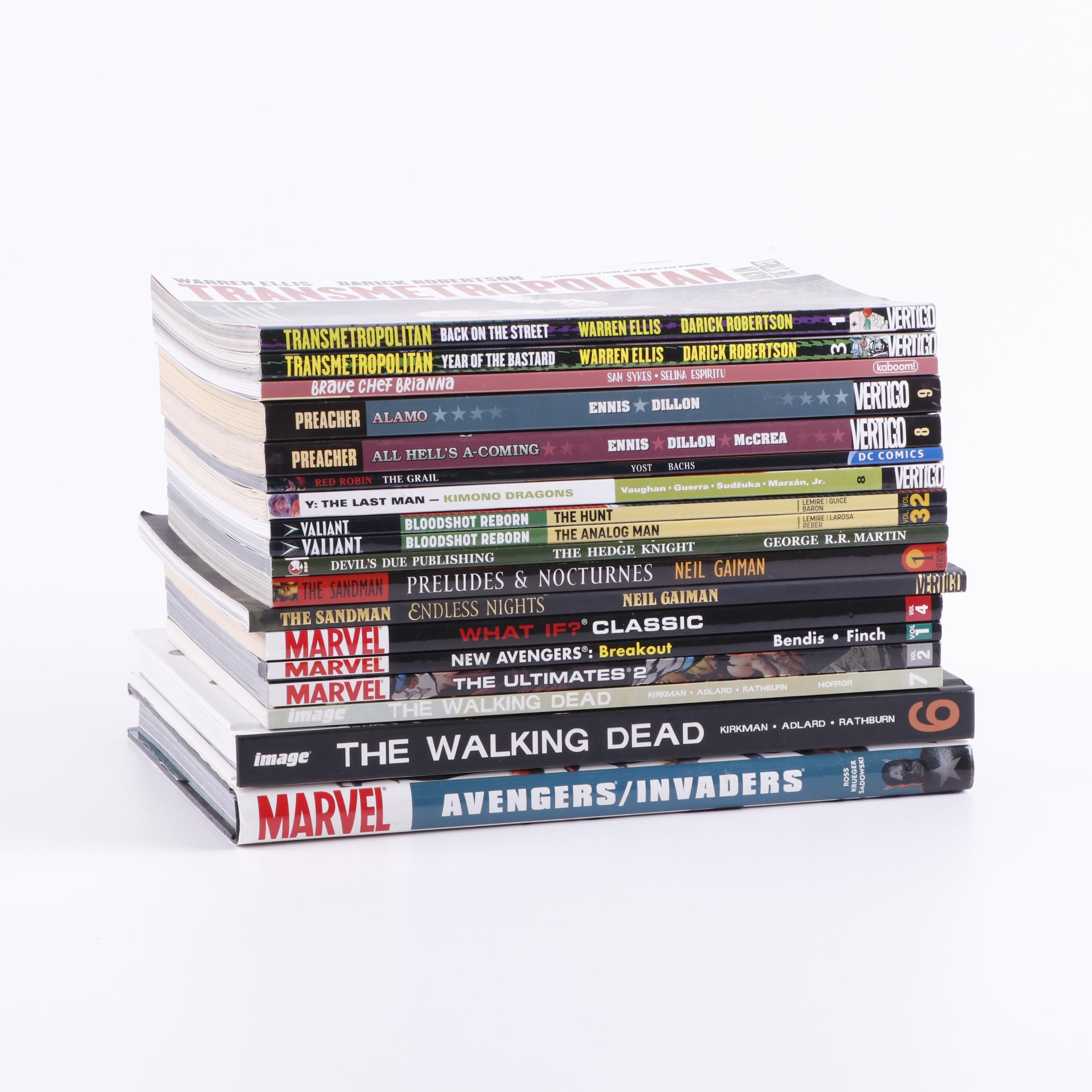 "Modern Age Graphic Novels including ""The Walking Dead"" and ""The Sandman"""