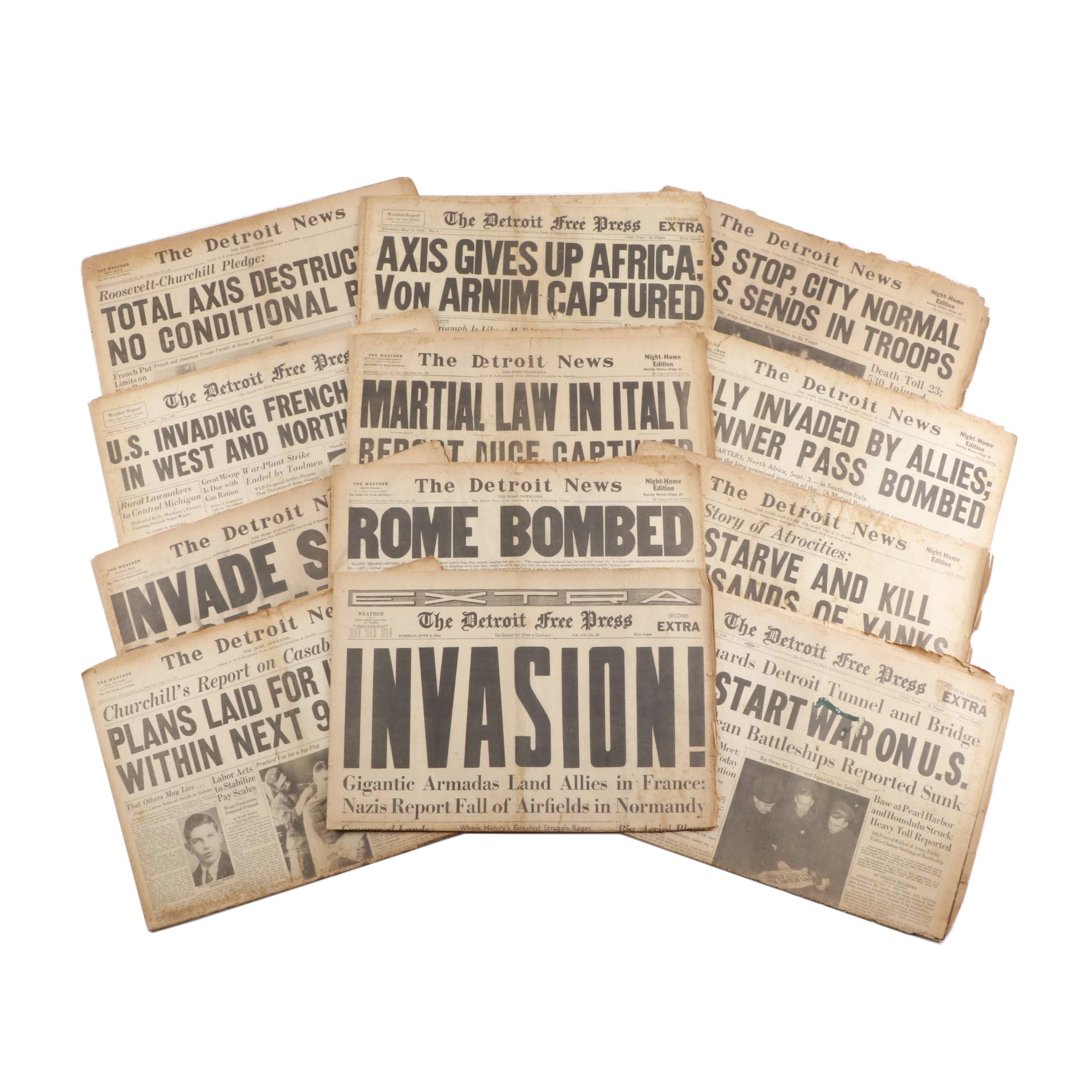 1940s World War II Newspapers