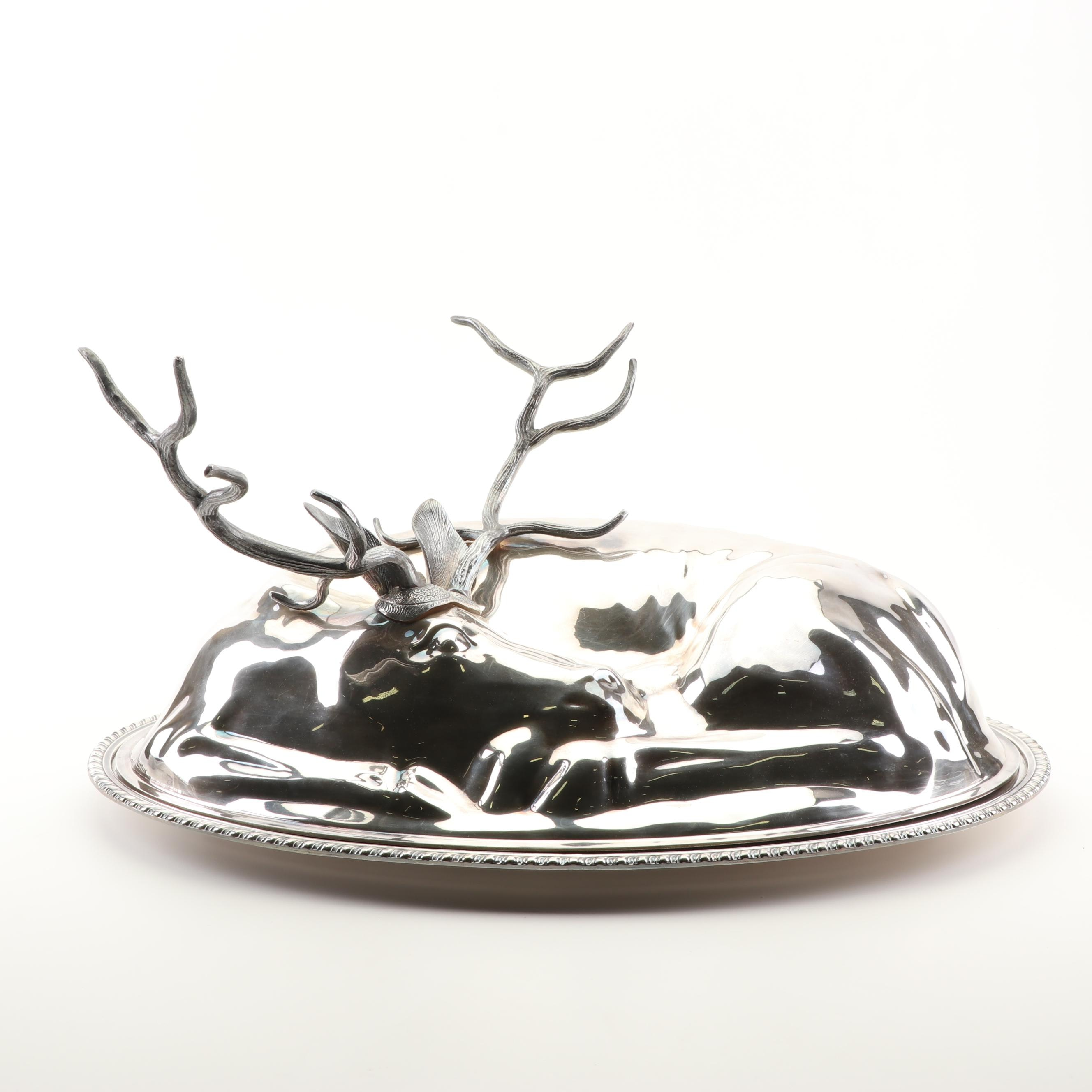 "Gorham Silver Plated ""Reindeer"" Covered Serving Platter"