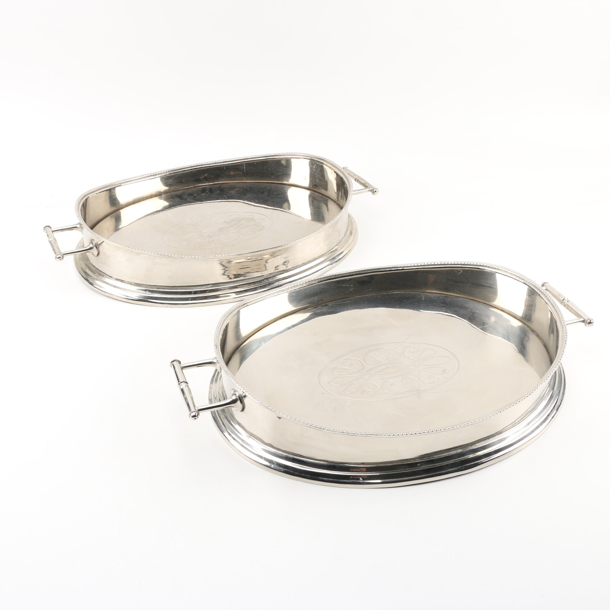 Silver Plate Handled Serving Trays