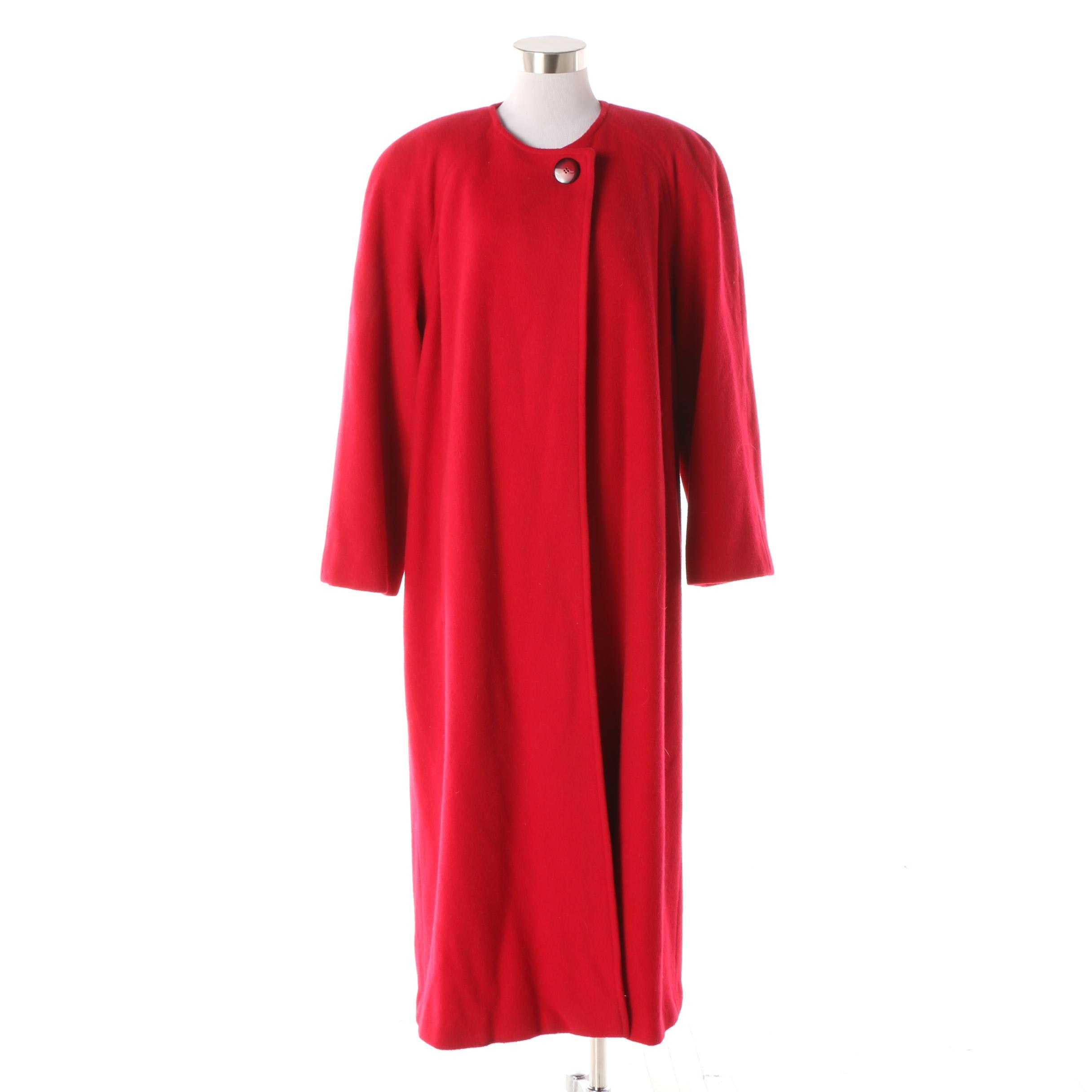Women's 1980s Vintage Regency Cashmere for Neiman Marcus Red Collarless Coat