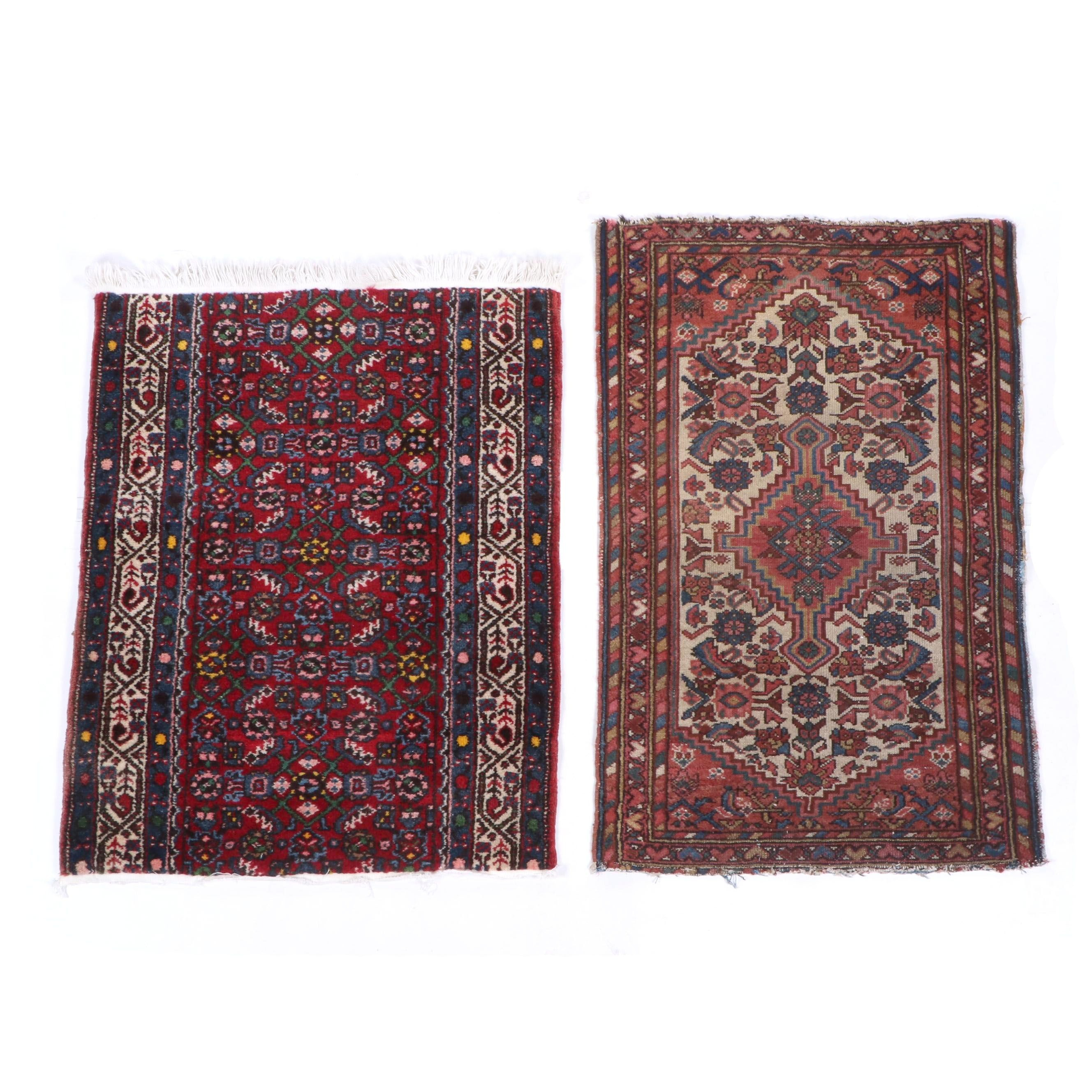 Hand-Knotted Persian Wool Rug and Remnant